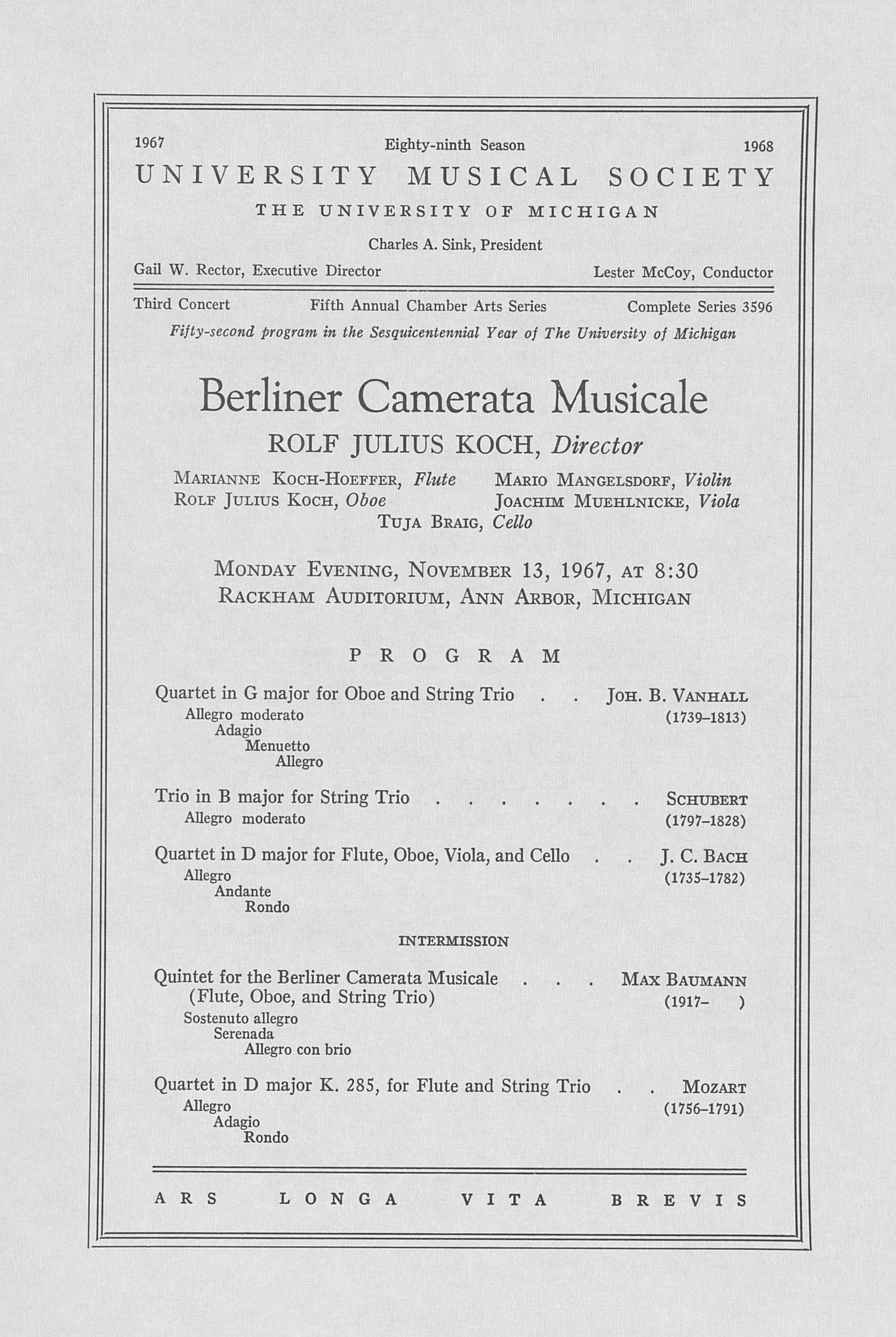 UMS Concert Program, November 13, 1967: Berliner Camerata Musicale -- Rolf Julius Koch image