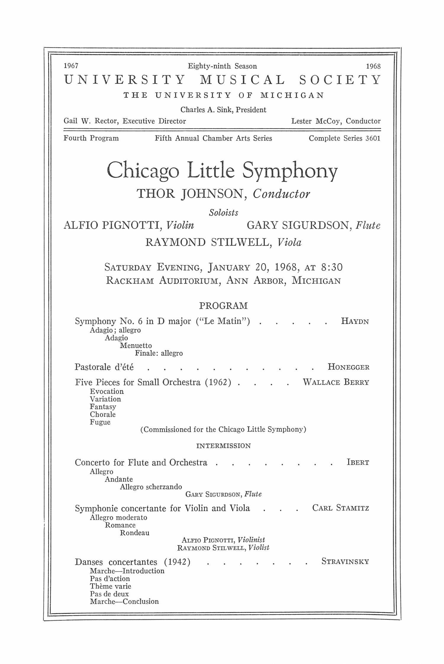 UMS Concert Program, January 20, 1968: Chicago Little Symphony -- Thor Johnson image