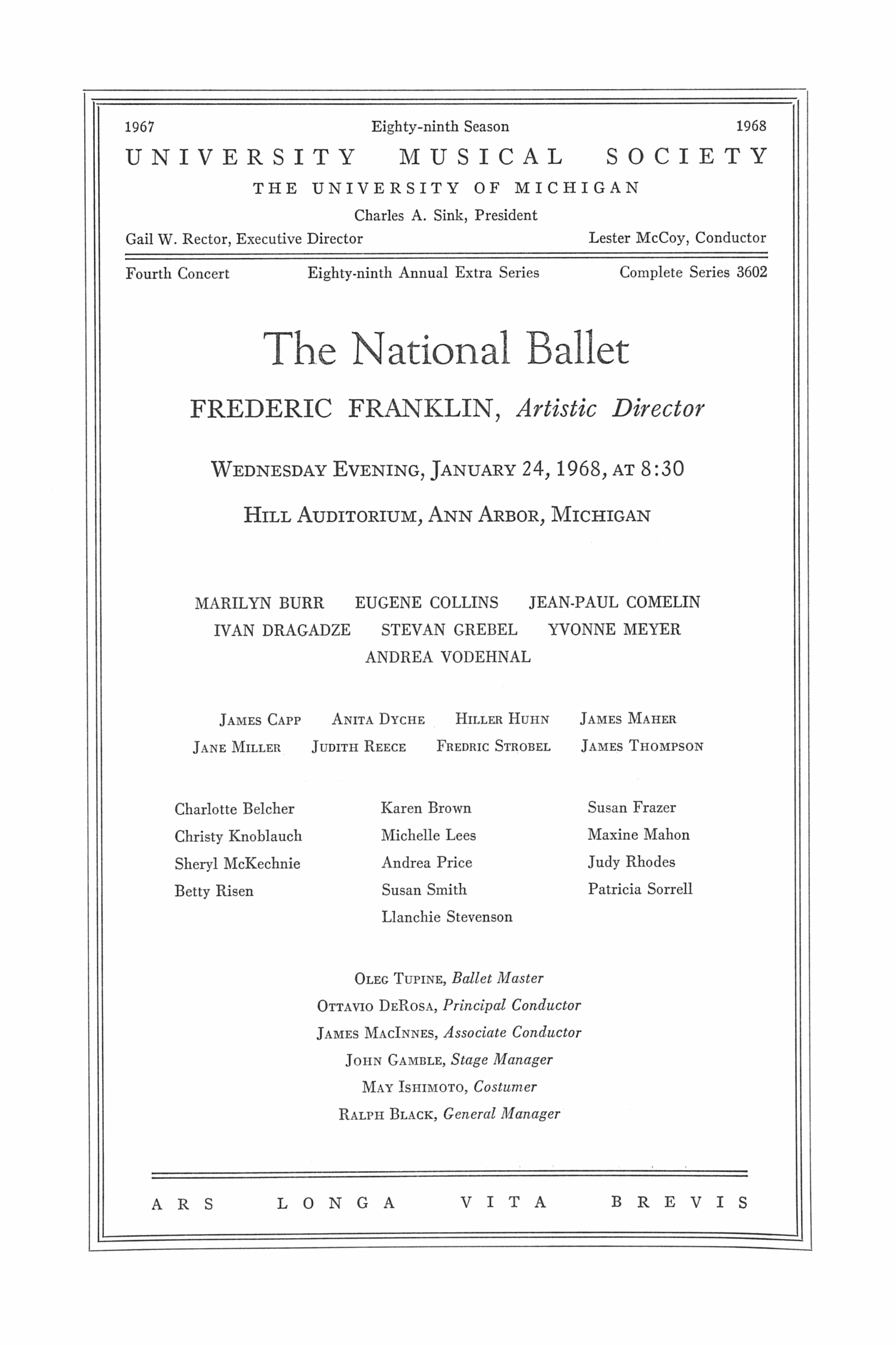 UMS Concert Program, January 24,1968: The National Ballet -- Frederic Franklin image