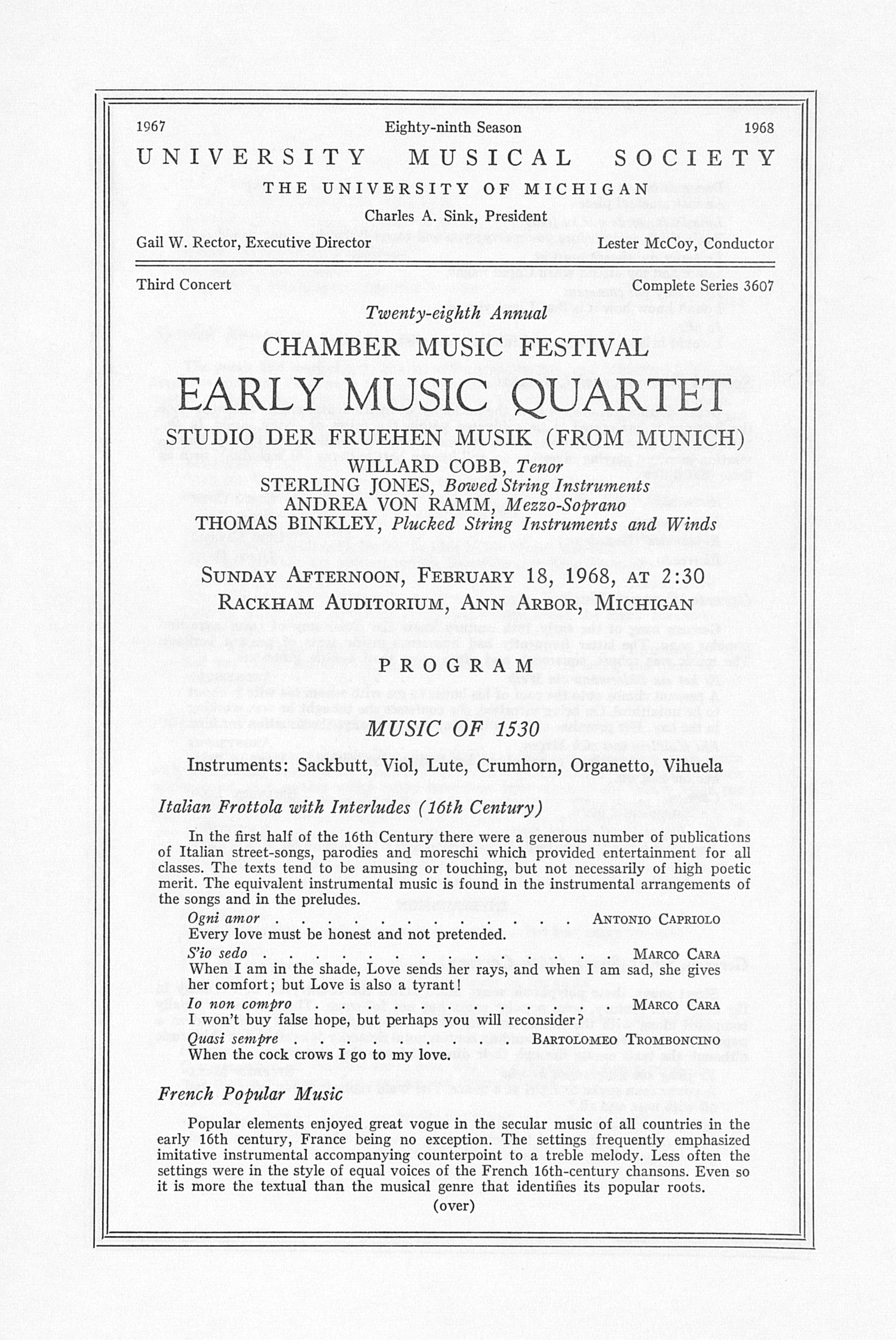UMS Concert Program, February 18, 1968: Twenty-eighth Annual Chamber Music Festival -- Early Music Quartet image