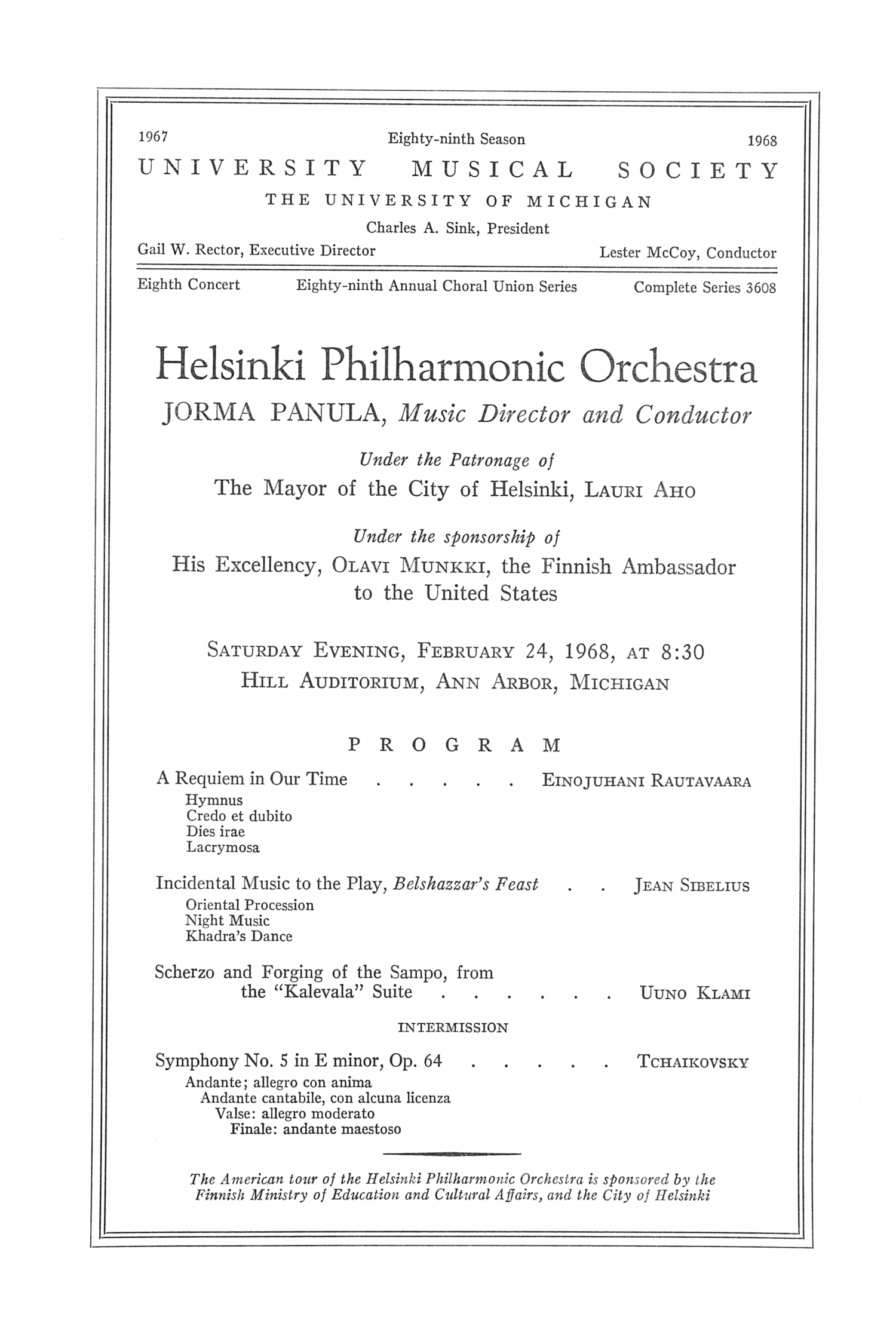 UMS Concert Program, February 24, 1968: Eighty-ninth Annual Choral Union Series -- Helsinki Philharmonic Orchestra image