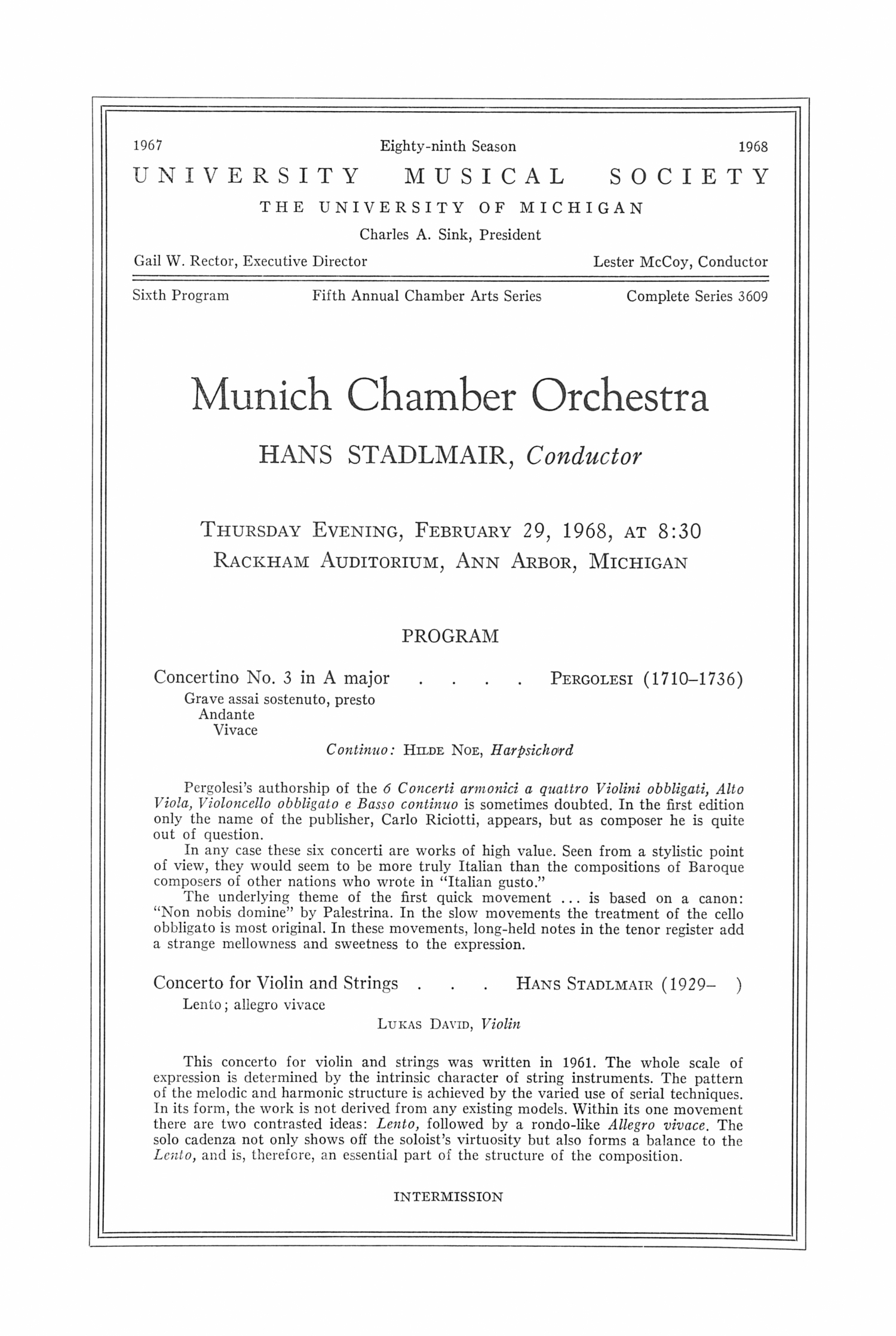 UMS Concert Program, February 29, 1968: Munich Chamber Orchestra --  image