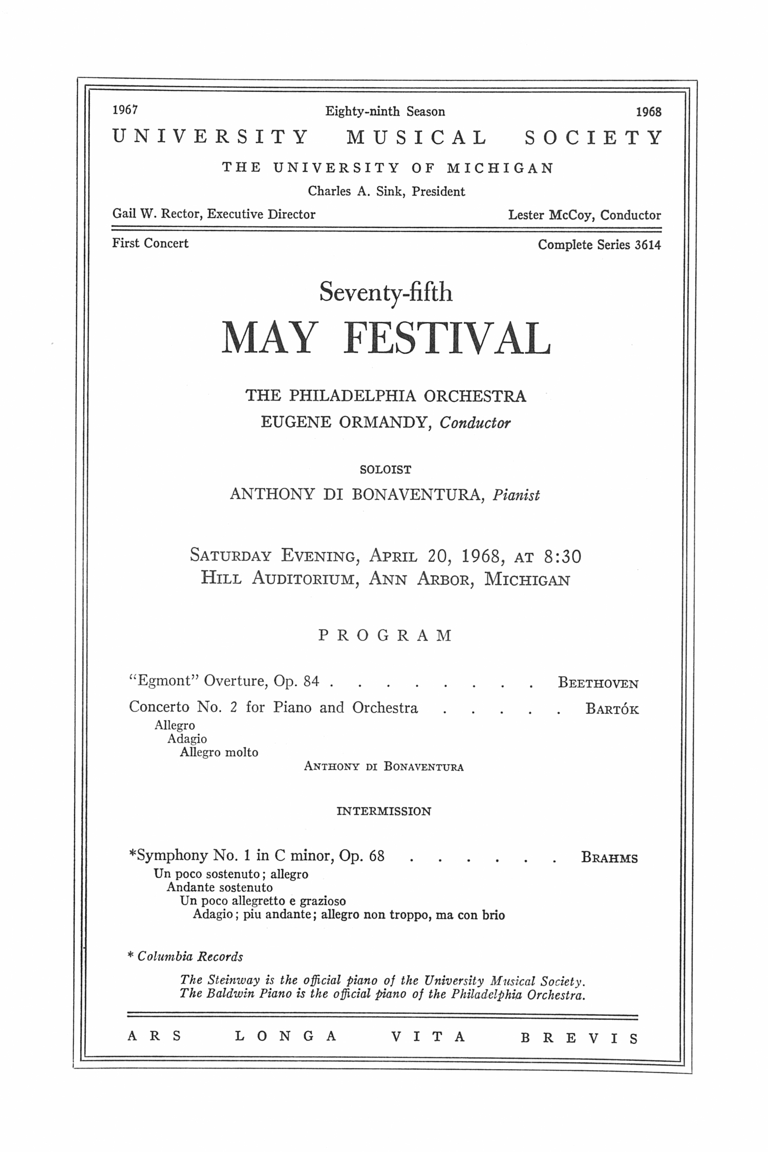 UMS Concert Program, April 20, 1968: Seventy-fifth May Festival -- The Philadelphia Orchestra image