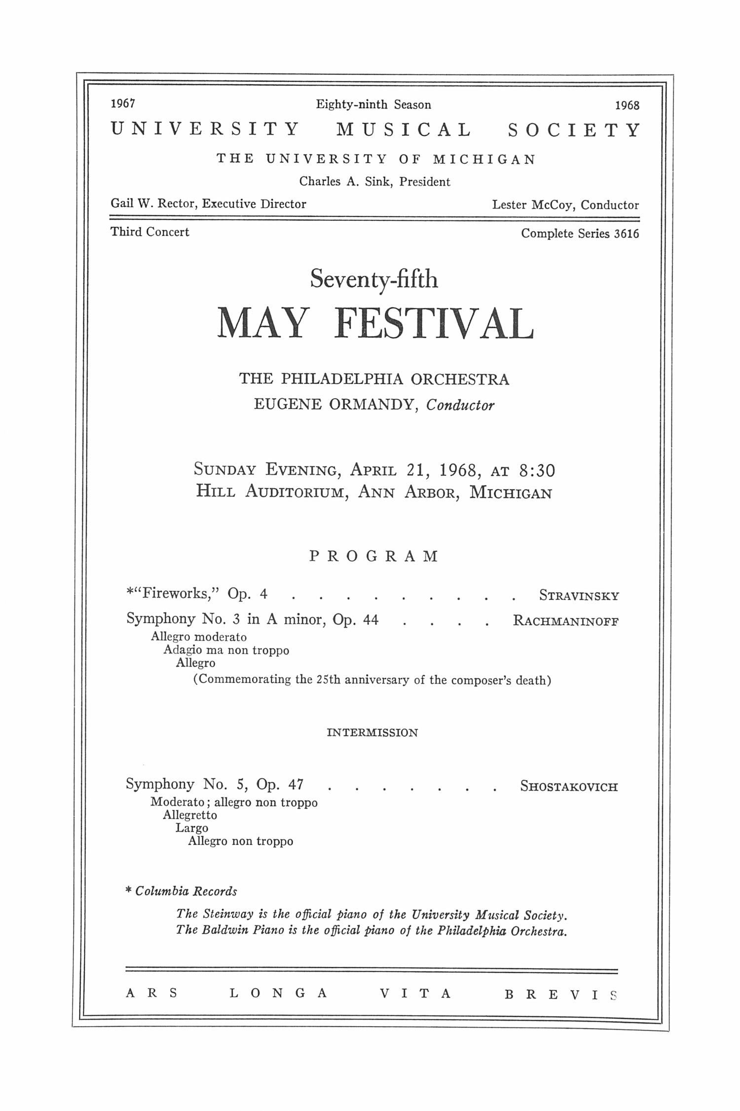 UMS Concert Program, April 21, 1968: Seventy-fifth May Festival -- The Philadelphia Orchestra image