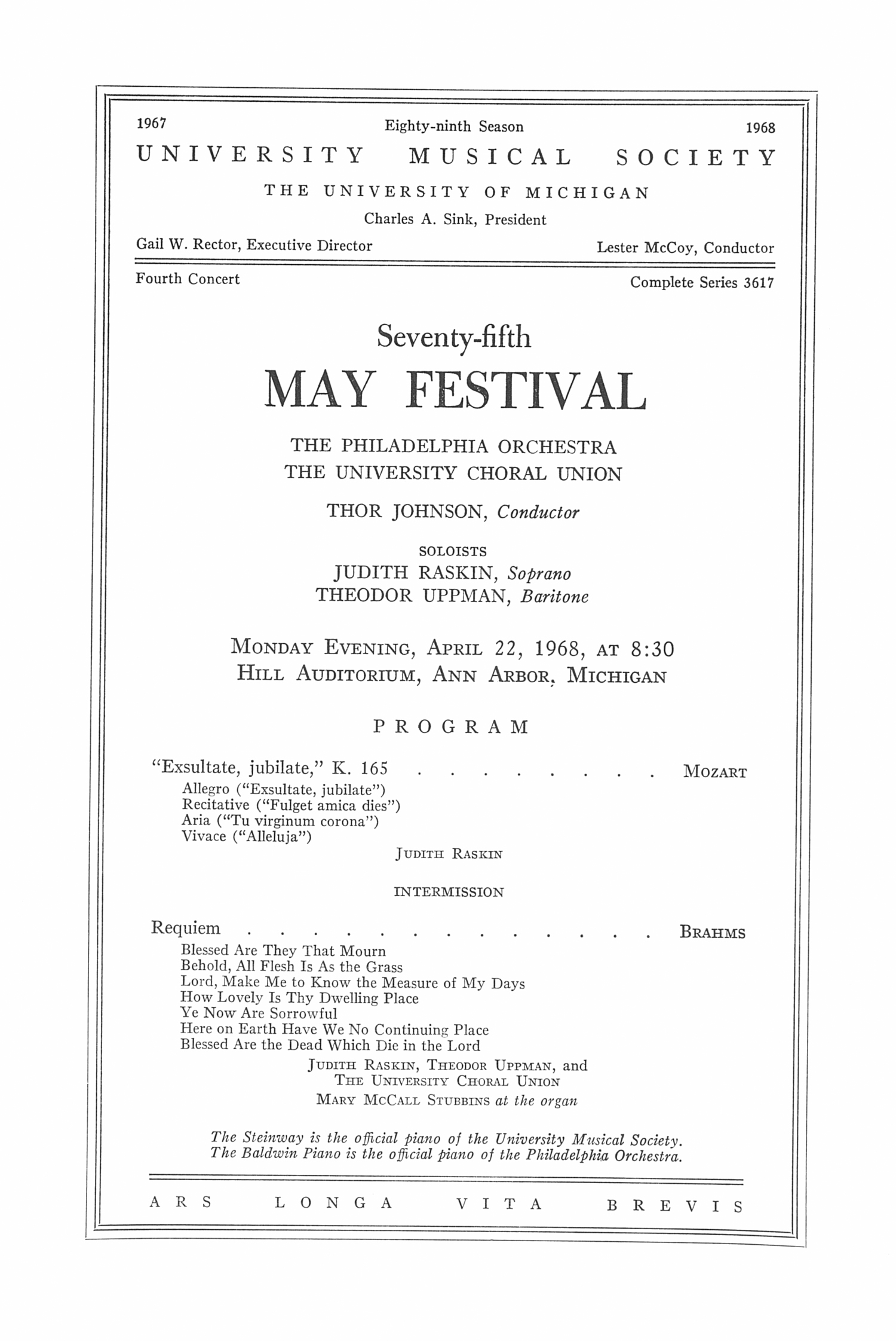 UMS Concert Program, April 22, 1968: Seventy-fifth May Festival -- The Philadelphia Orchestra image