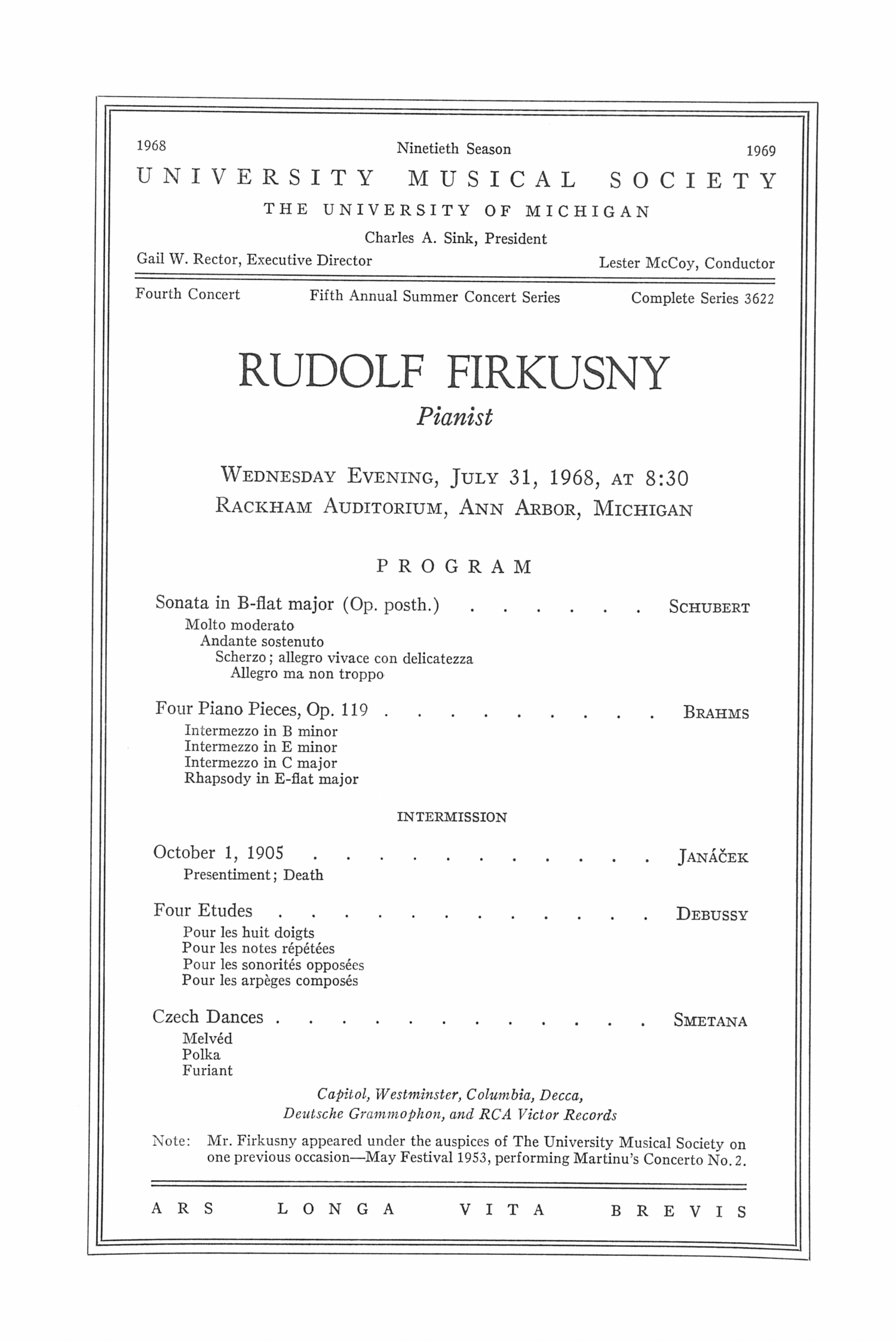 UMS Concert Program, July 31, 1968: Rudolf Firkusny --  image