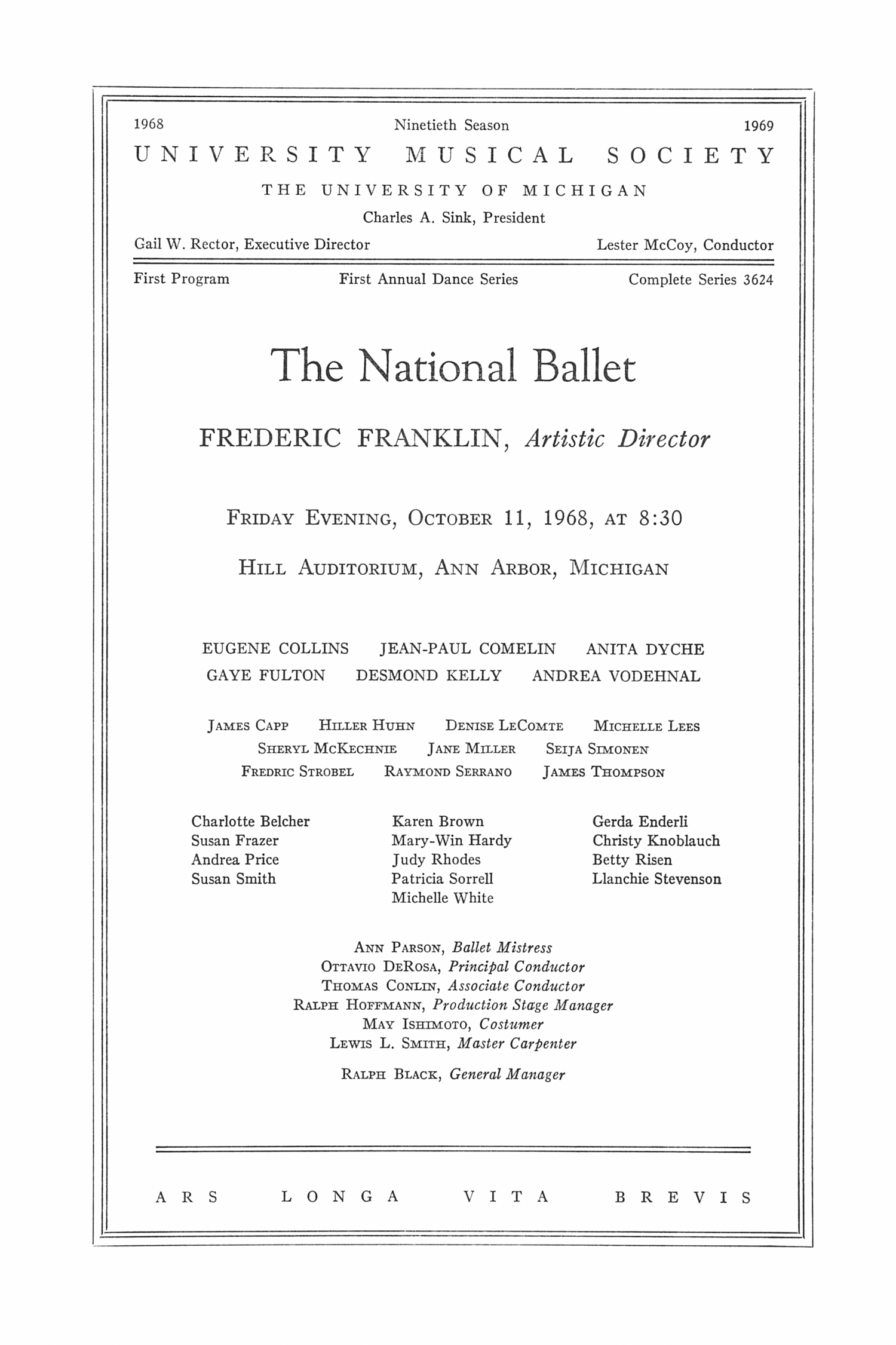 UMS Concert Program, October 11, 1968: The National Ballet -- Frederic Franklin image