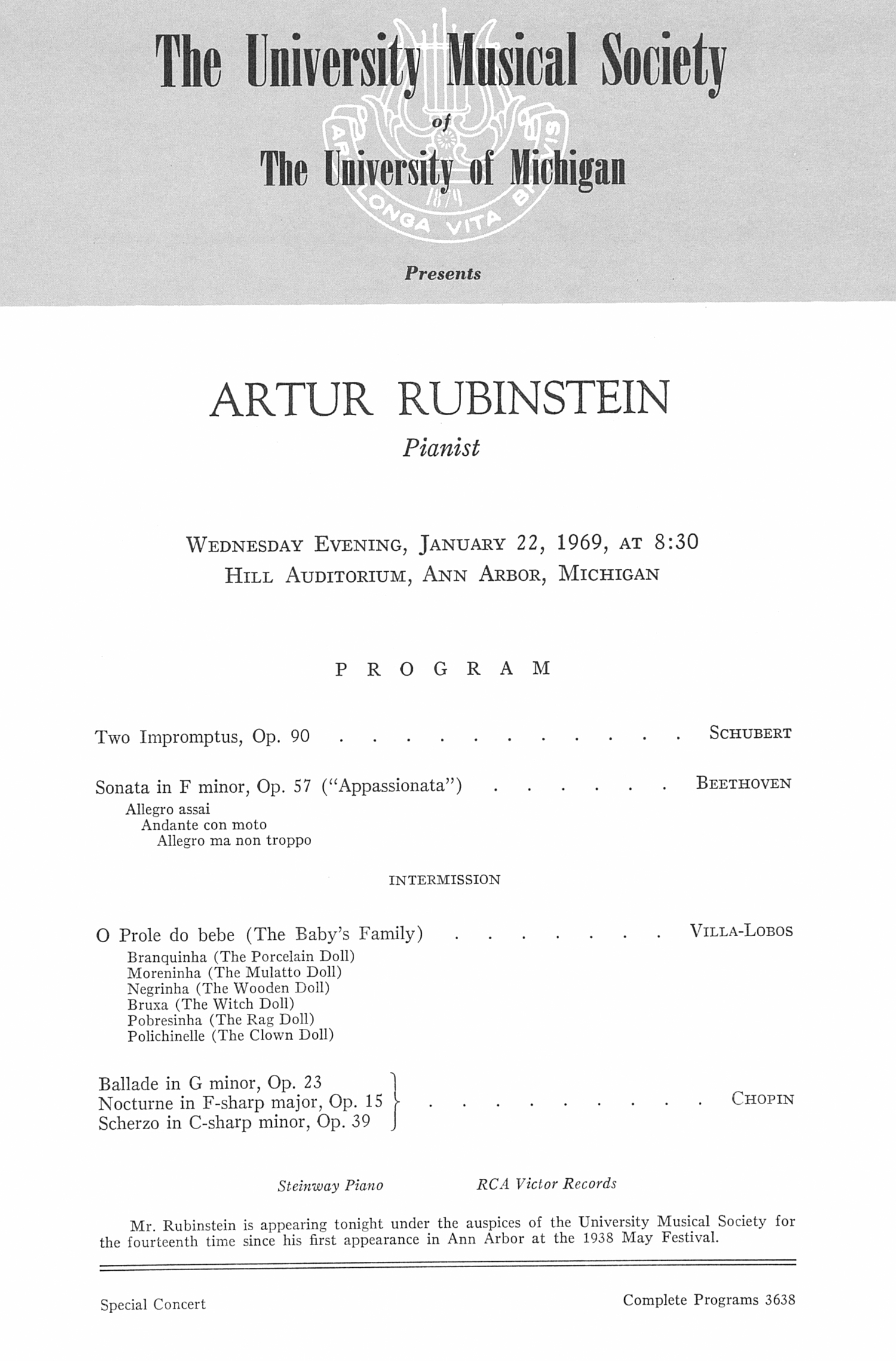 UMS Concert Program, January 22, 1969: Artur Rubinstein --  image