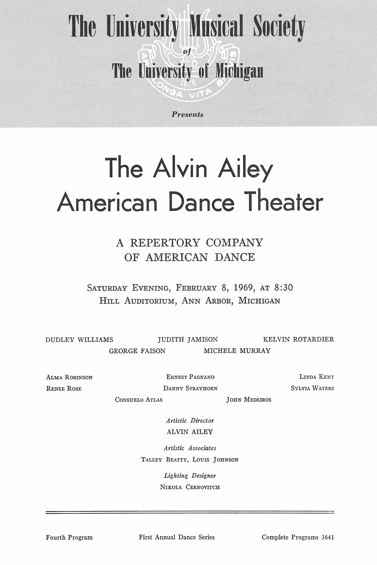UMS Concert Program, February 8, 1969: The Alvin Ailey American Dance Theater -- A Repertory Company Of American Dance image