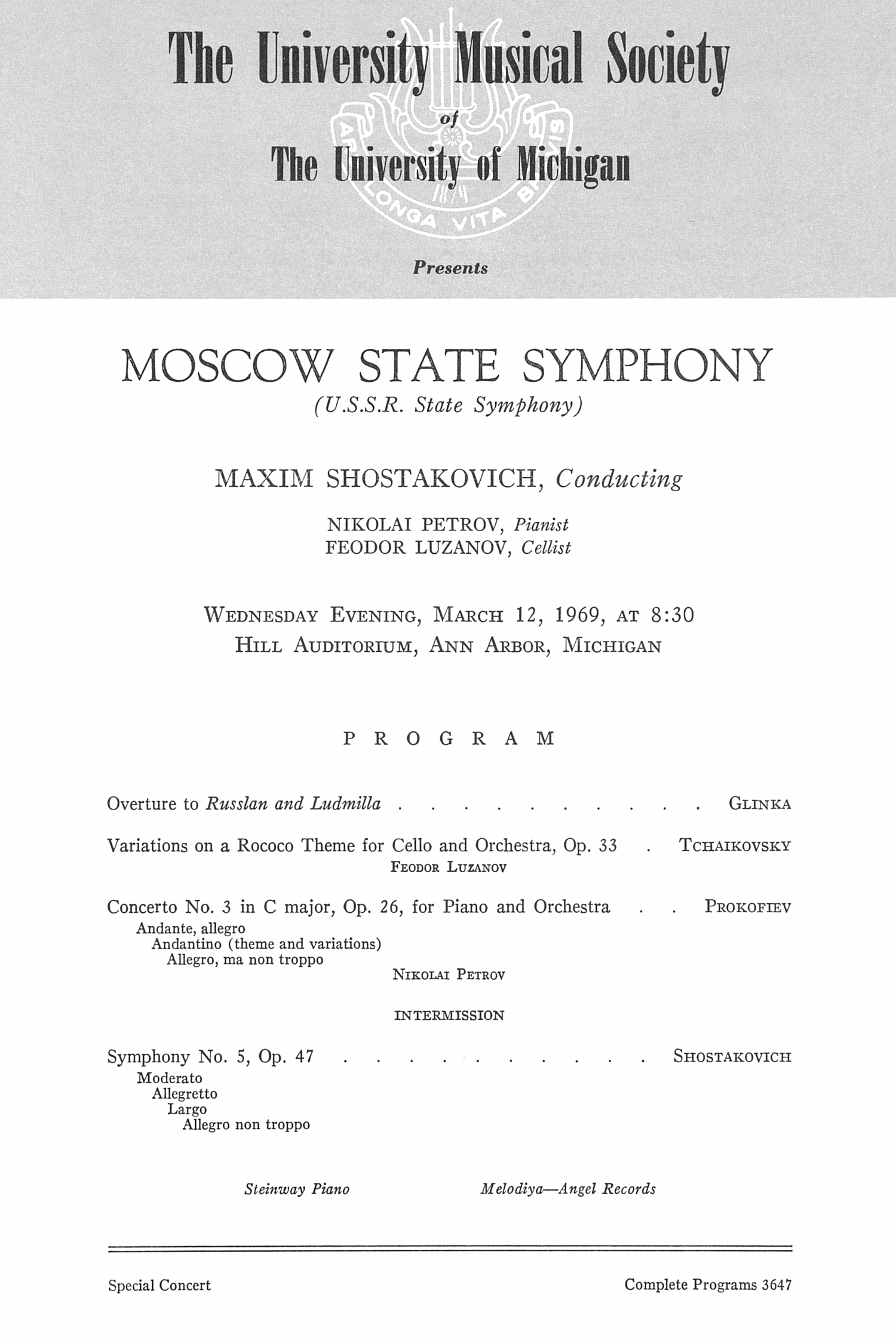 UMS Concert Program, March 12, 1969: Moscow State Symphony --  image