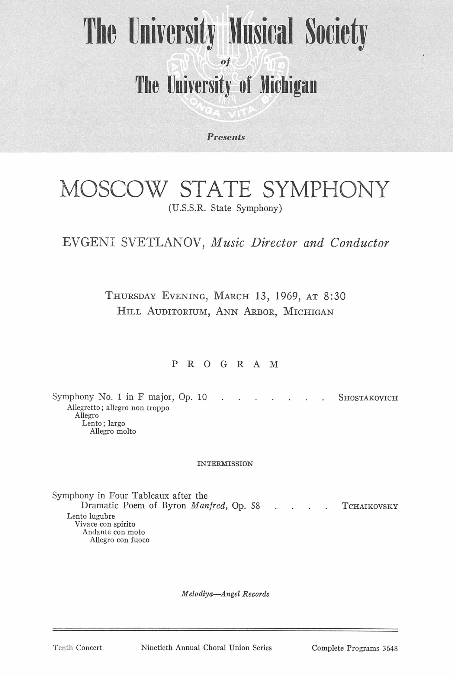 UMS Concert Program, March 13, 1969: Moscow State Symphony --  image