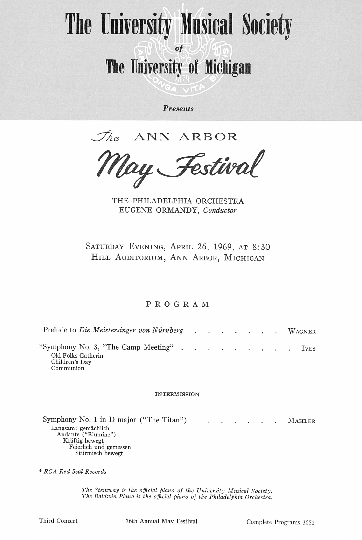 UMS Concert Program, April 25, 1969: The Ann Arbor May Festival -- The Philadelphia Orchestra image