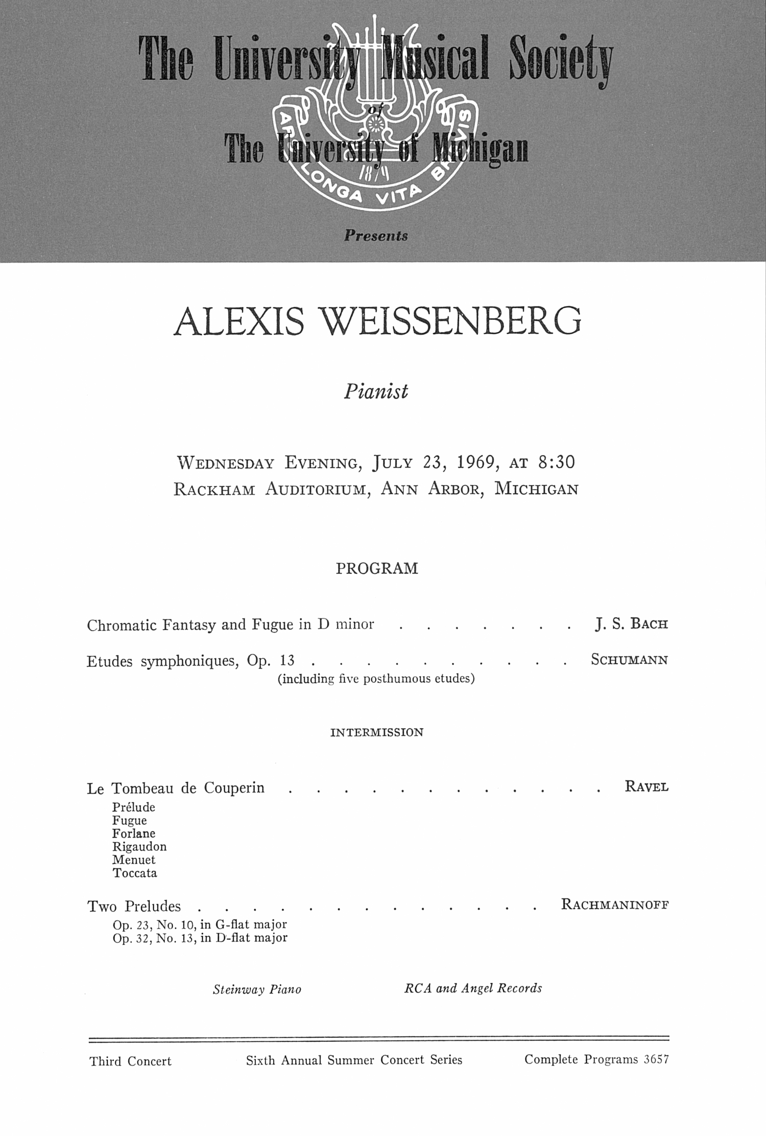 UMS Concert Program, July 23, 1969: Alexis Weissenberg --  image