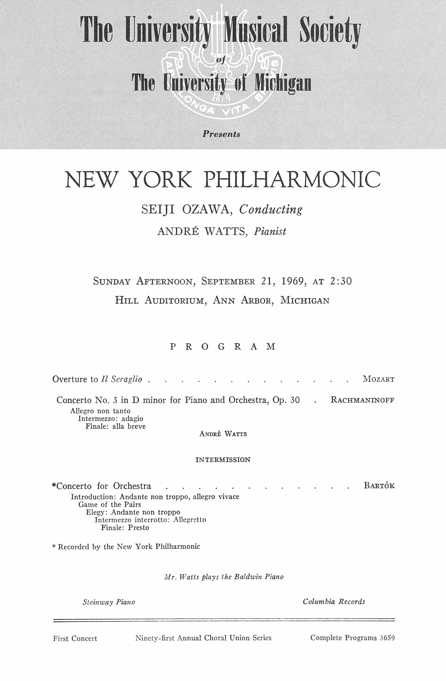 Concert Program | Ums Concert Program September 21 1969 New York Philharmonic