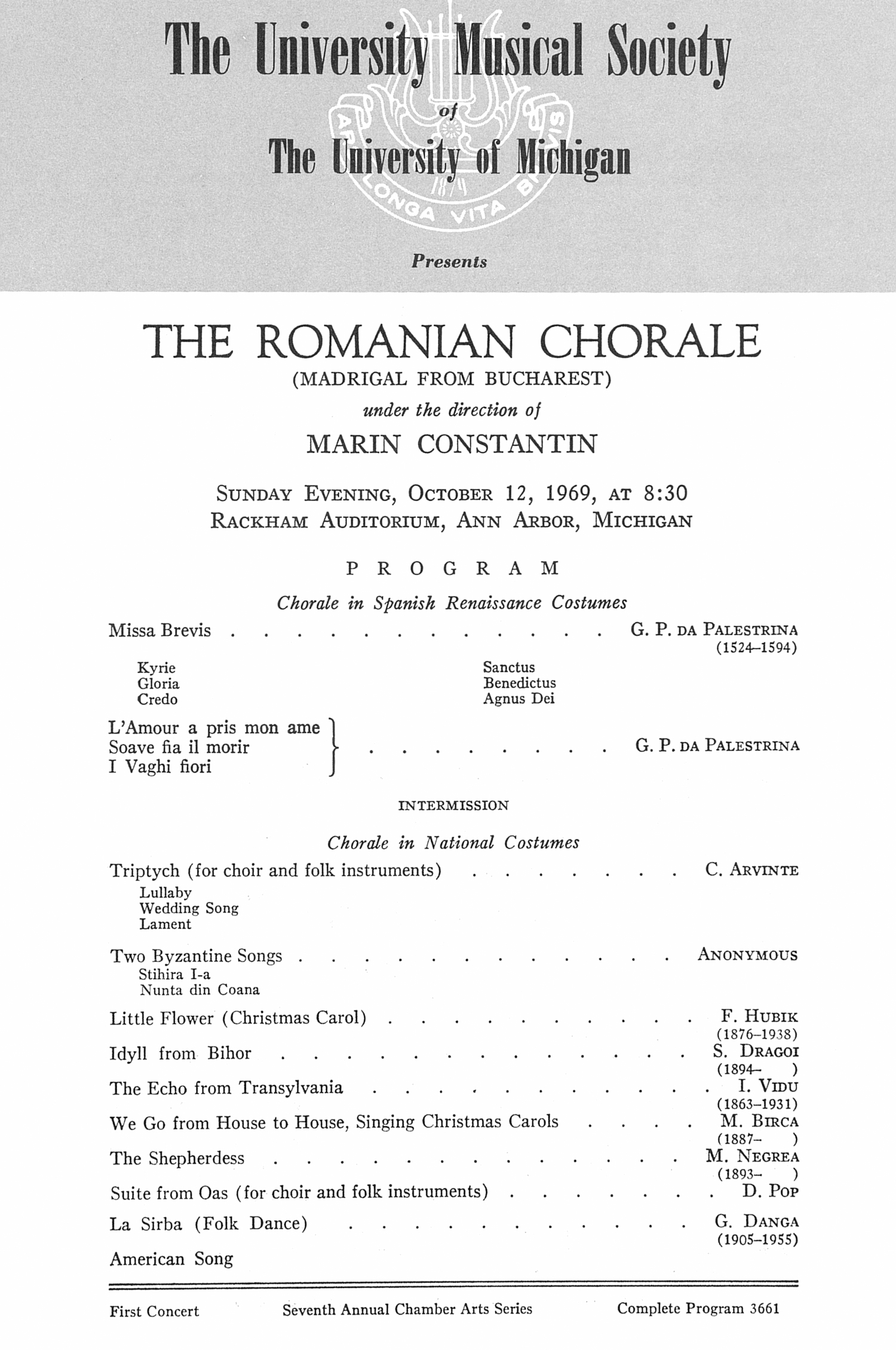 UMS Concert Program, October 12, 1969: The Romanian Chorale -- Marin Constantin image