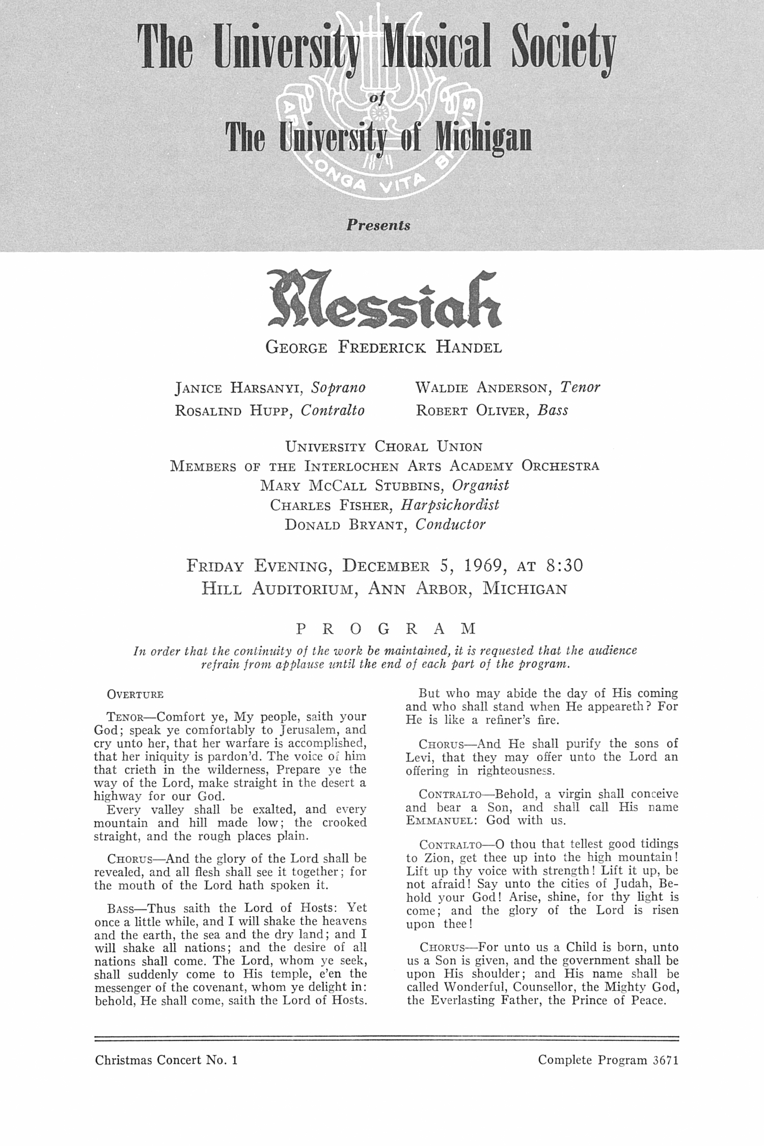 UMS Concert Program, December 5, 1969: Messiah -- George Frederick Handel image