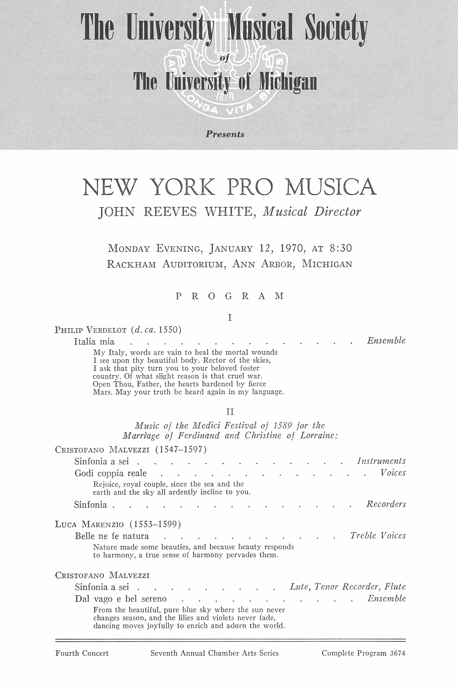 UMS Concert Program, January 12, 1970: New York Pro Musica -- John Reeves White image