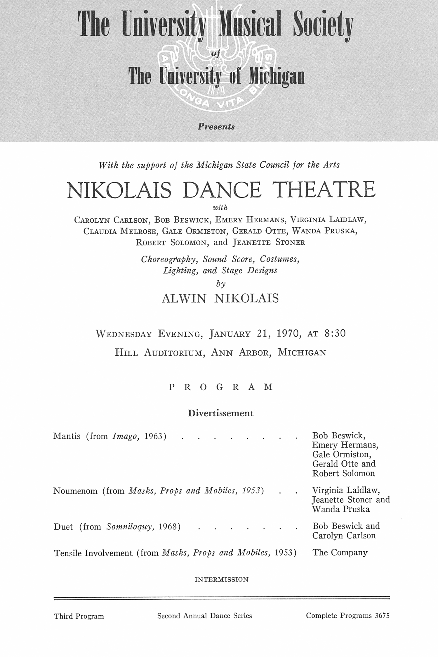 UMS Concert Program, January 21, 1970: Nikolais Dance Theatre -- Alwin Nikolais image
