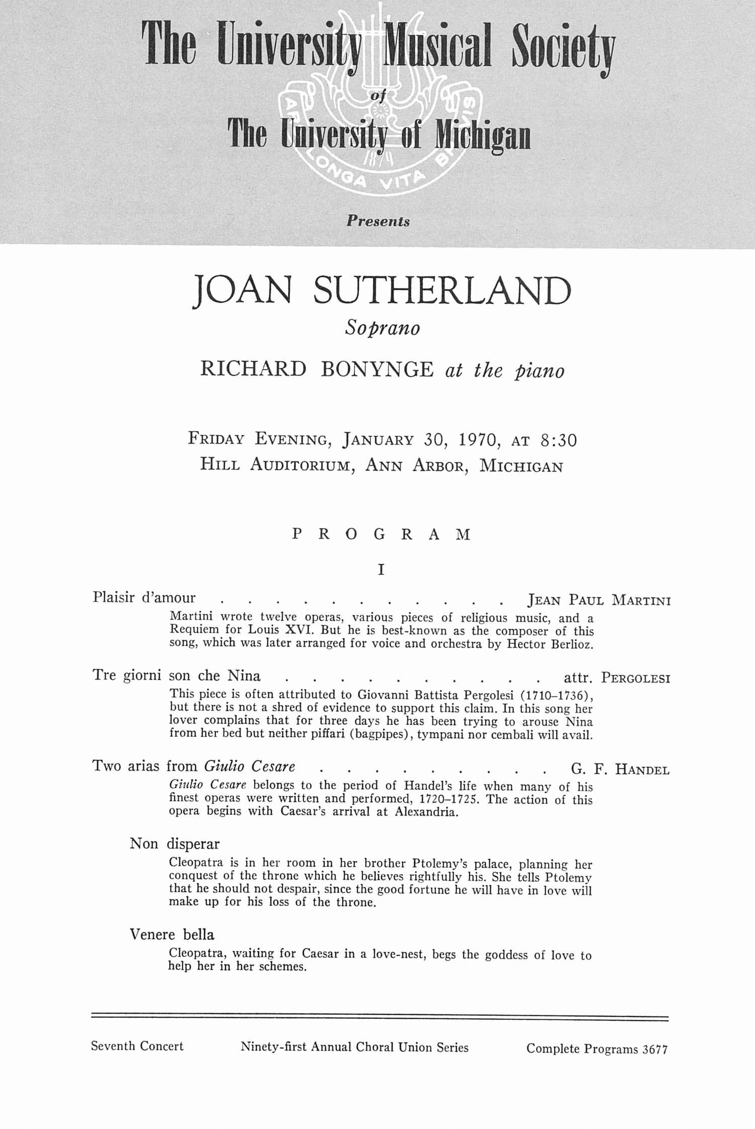 UMS Concert Program, January 30, 1970: Joan Sutherland -- Richard Bonynge image
