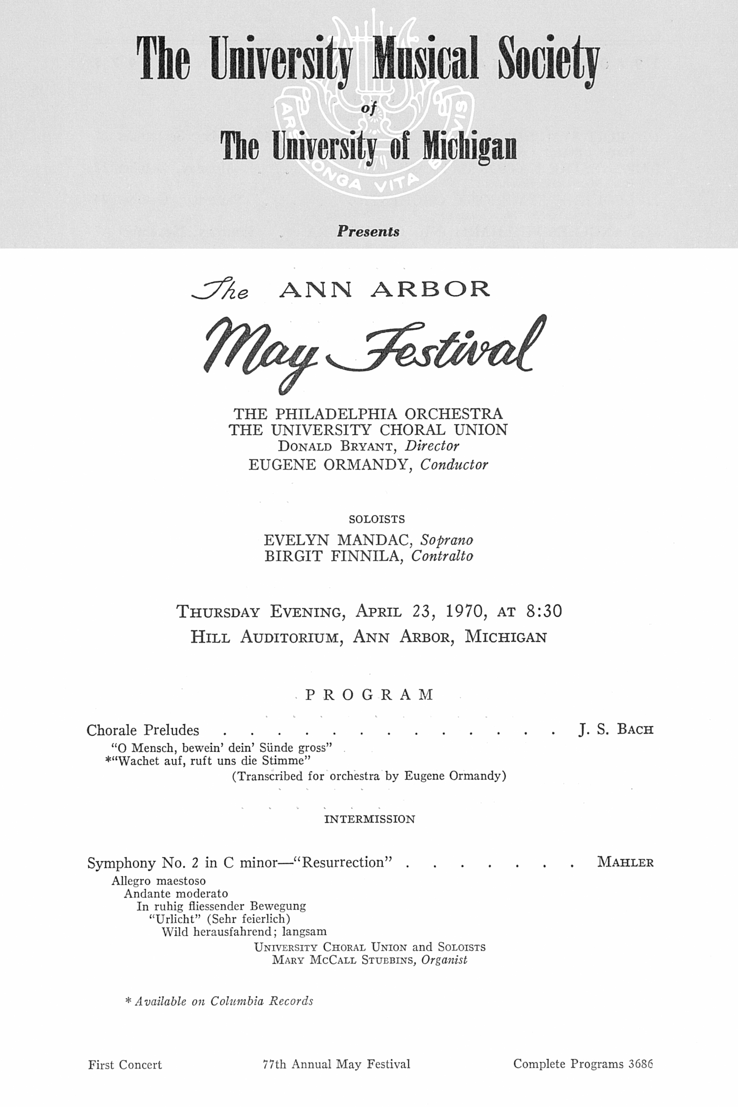 UMS Concert Program, April 23, 1970: The Ann Arbor May Festival -- The Philadelphia Orchestra image