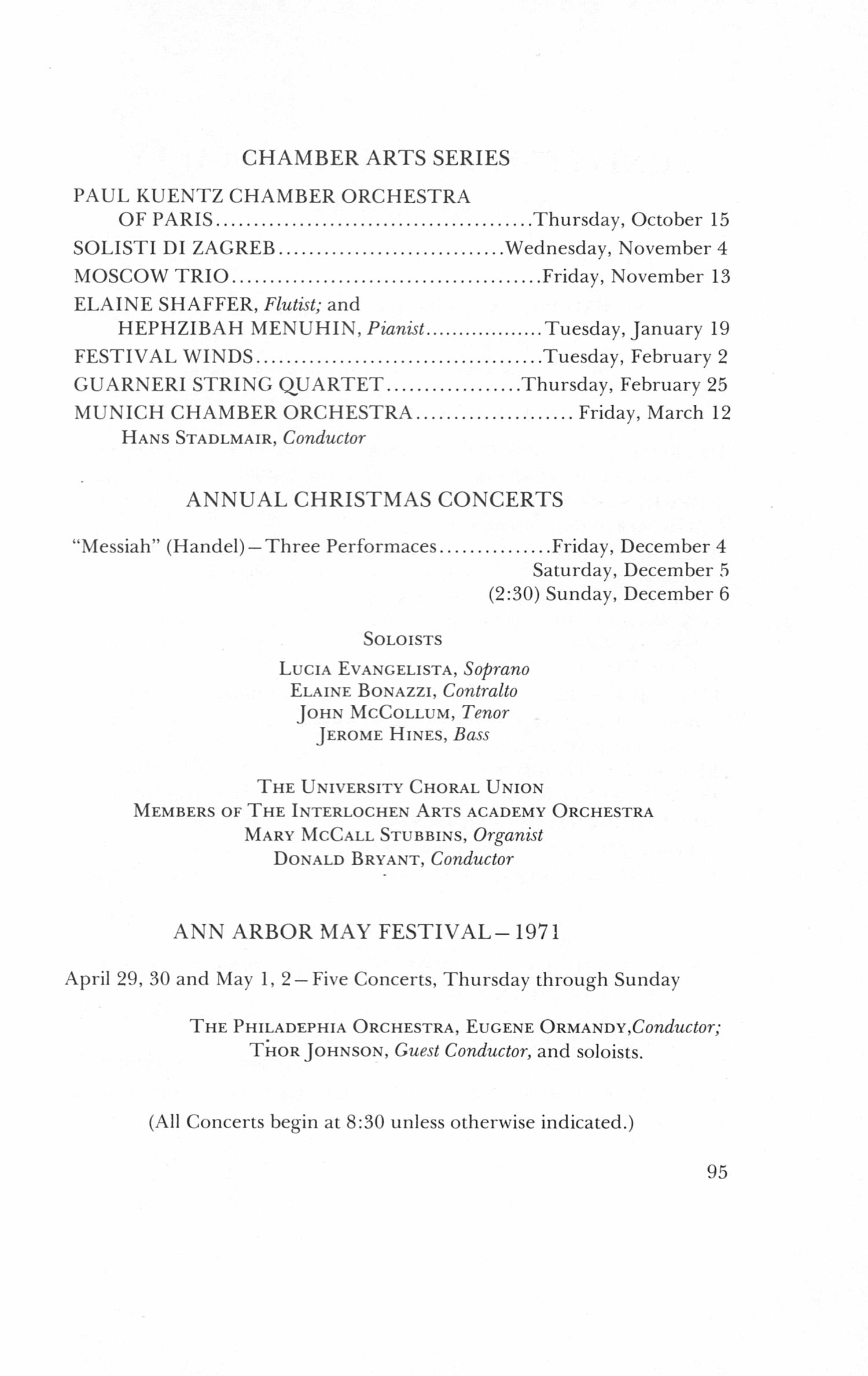 UMS Concert Program, April 23, 24, 25, 26, 1970: The Seventy-seventh ...