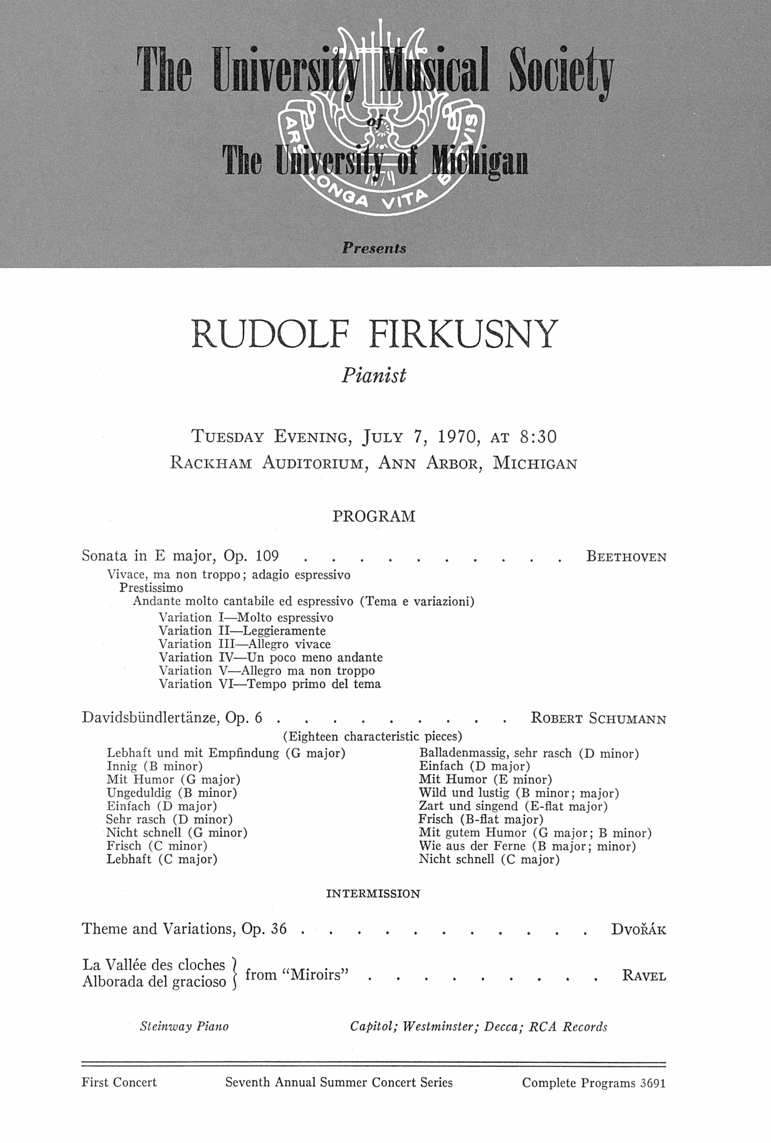 UMS Concert Program, July 7, 1970: Rudolf Firkusny --  image