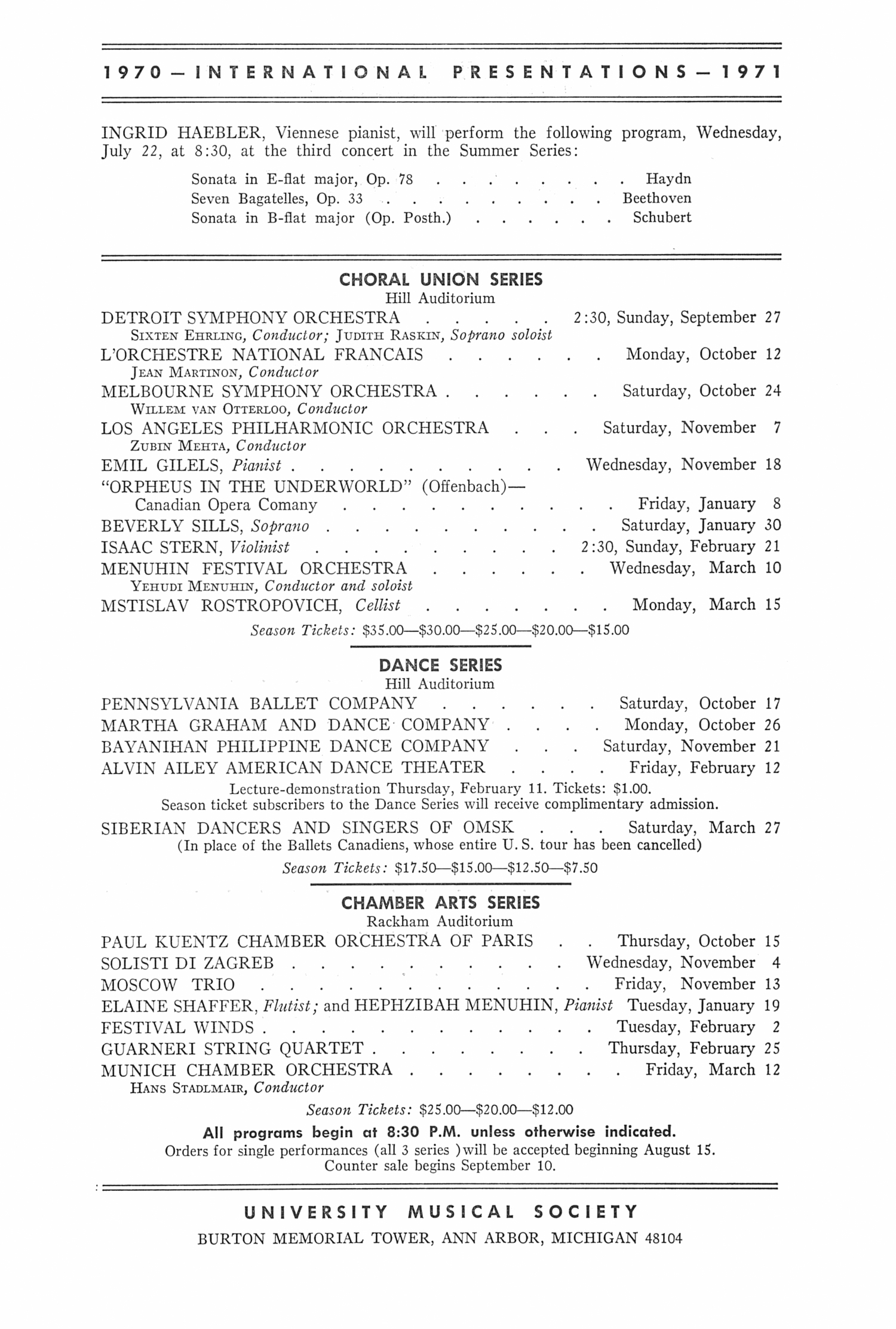 UMS Concert Program, July 16, 197o: Gabriel Tacchino --  image