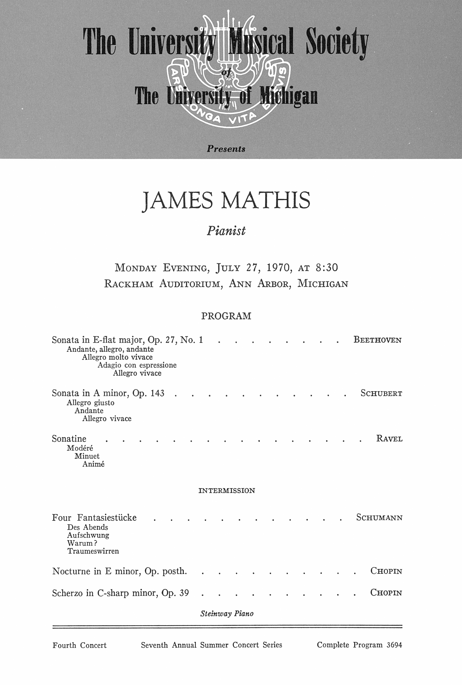 UMS Concert Program, July 27, 1970: James Mathis --  image