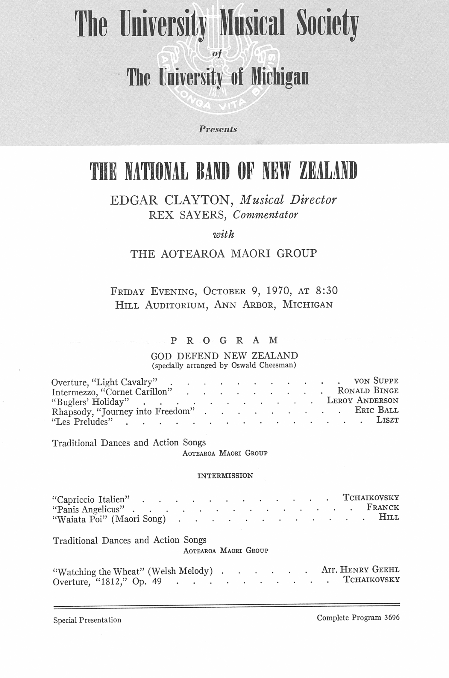 UMS Concert Program, October 9, 1970: The National Band Of New Zealand -- Edgar Clayton image