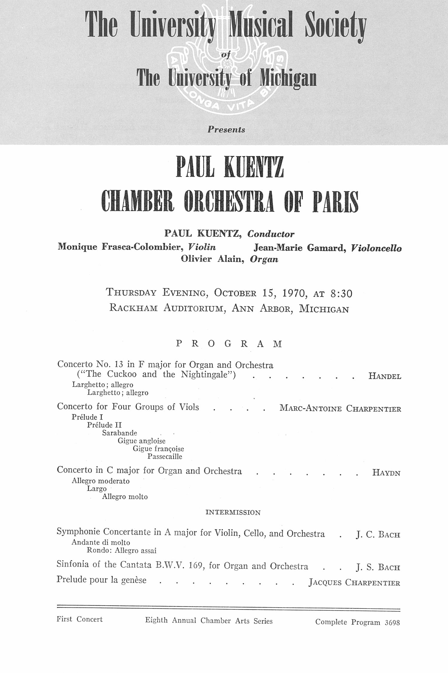 UMS Concert Program, October 15, 1970: Paul Kuentz Chamber Orchestra Of Paris -- Paul Kuentz image