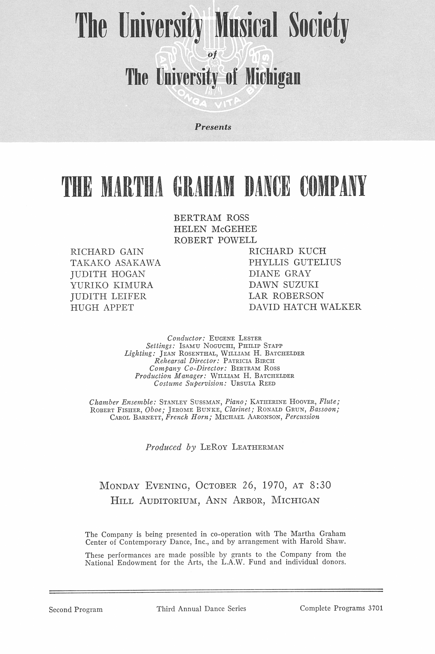 UMS Concert Program, October 26, 1970: The Martha Graham Dance Company --  image