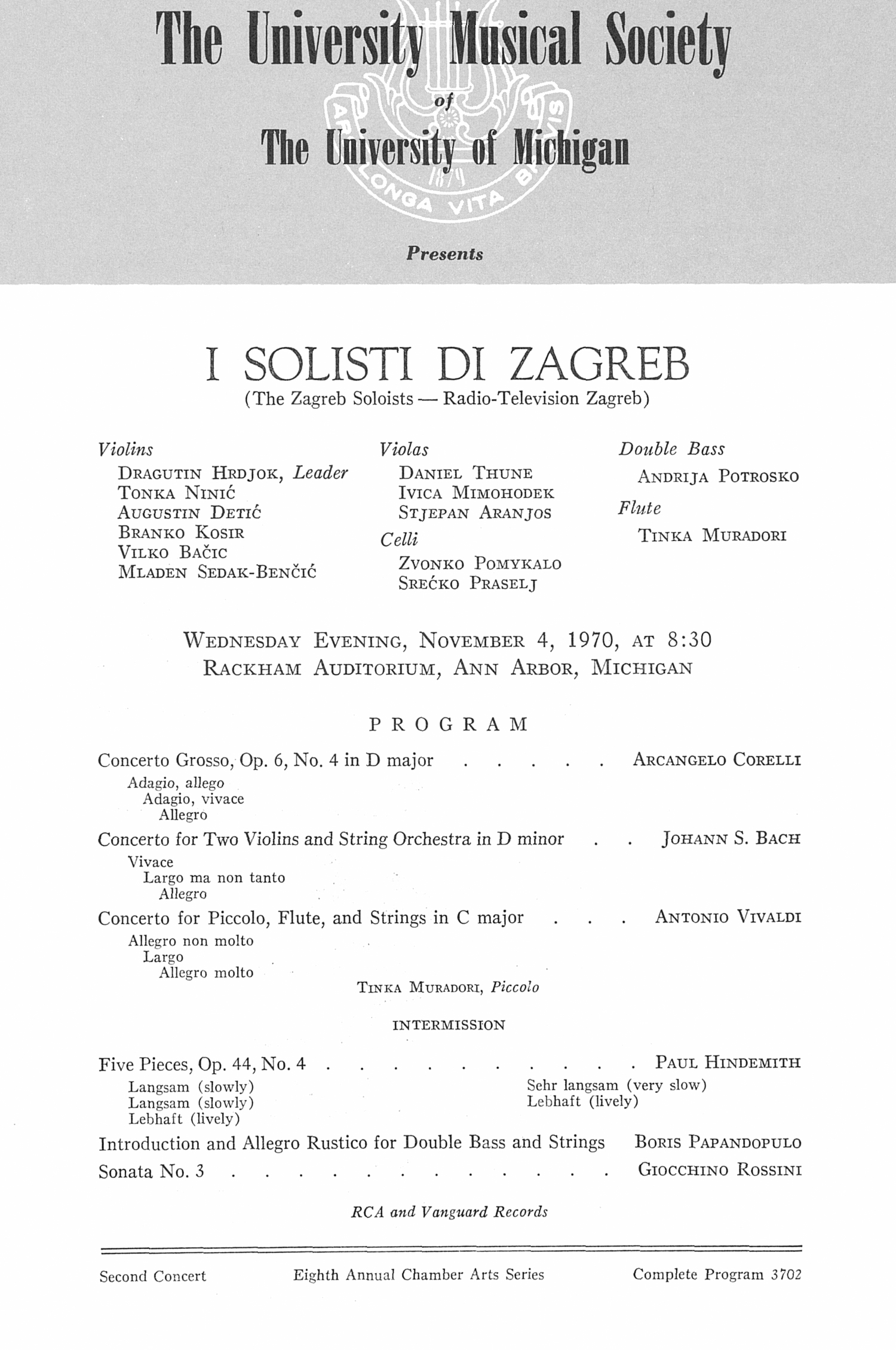 UMS Concert Program, November 4, 1970: I Solisti Di Zagreb --  image