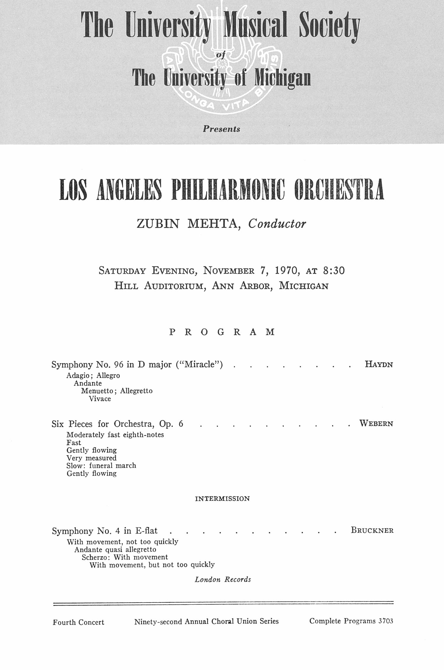 UMS Concert Program, November 7, 1970: Los Angeles Philharmonic Orchestra --  image