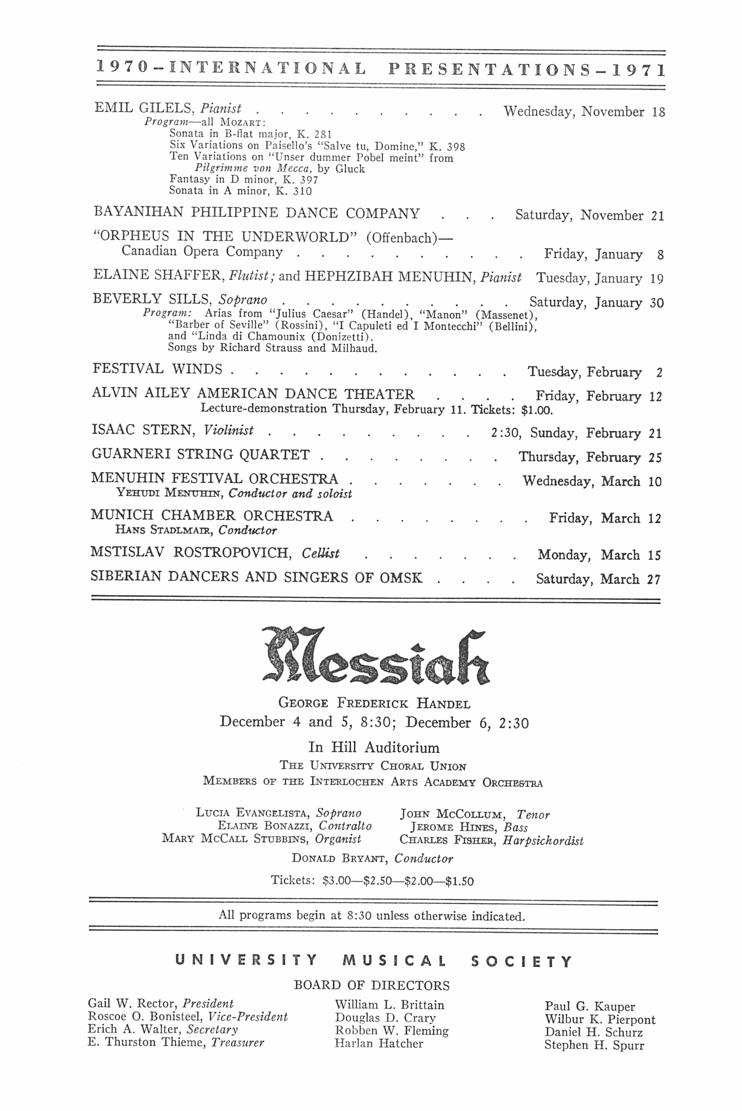 UMS Concert Program, November 13, 1970: Moscow Trio --  image