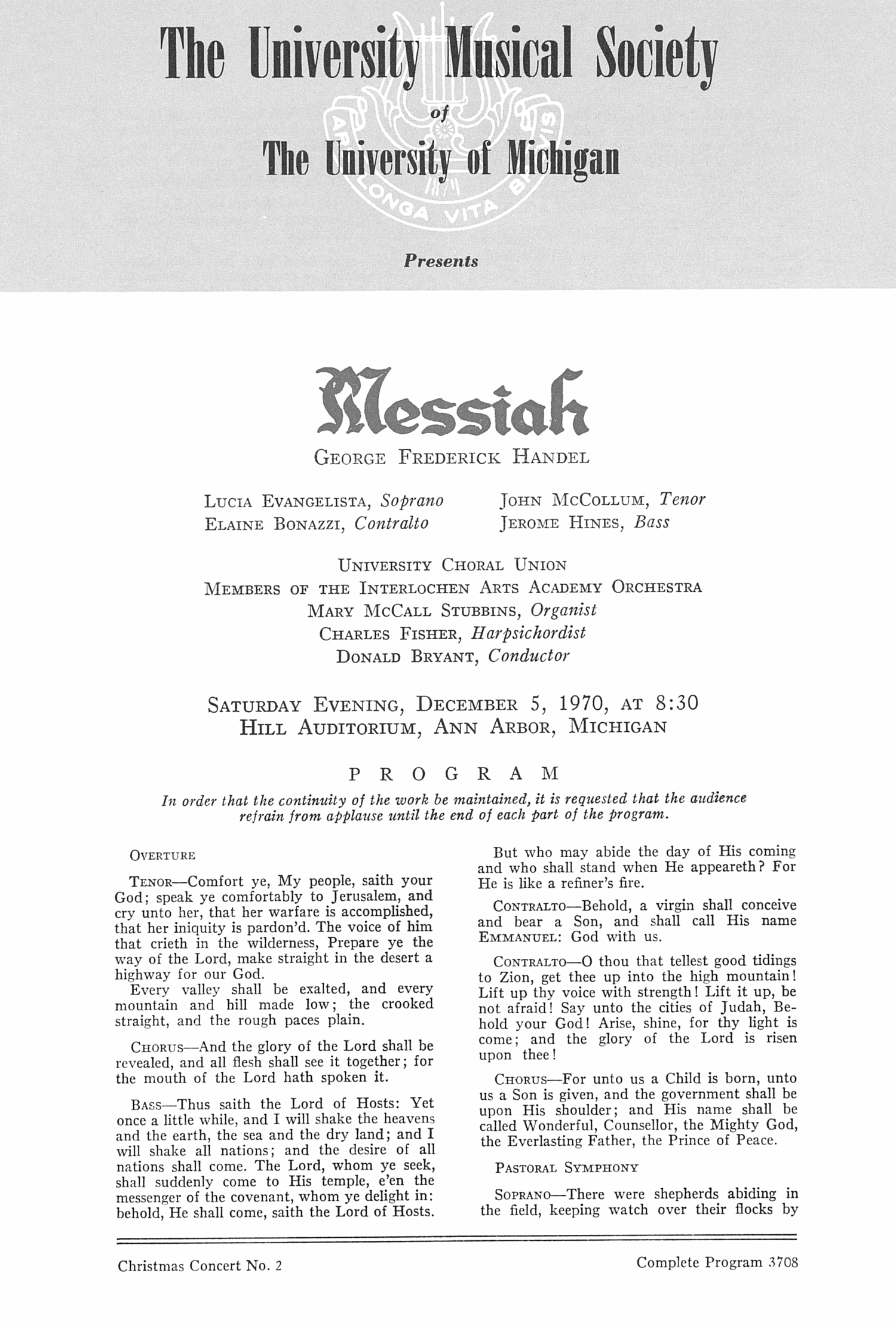 UMS Concert Program, December 5, 1970: Messiah -- George Frederick Handel image