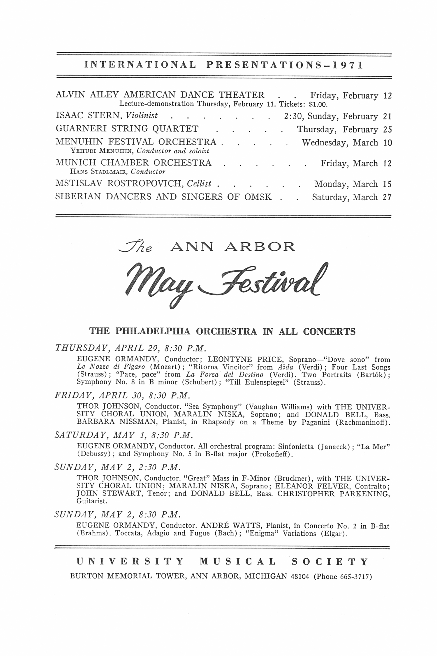 UMS Concert Program, February 2, 1971: Festival Winds --  image