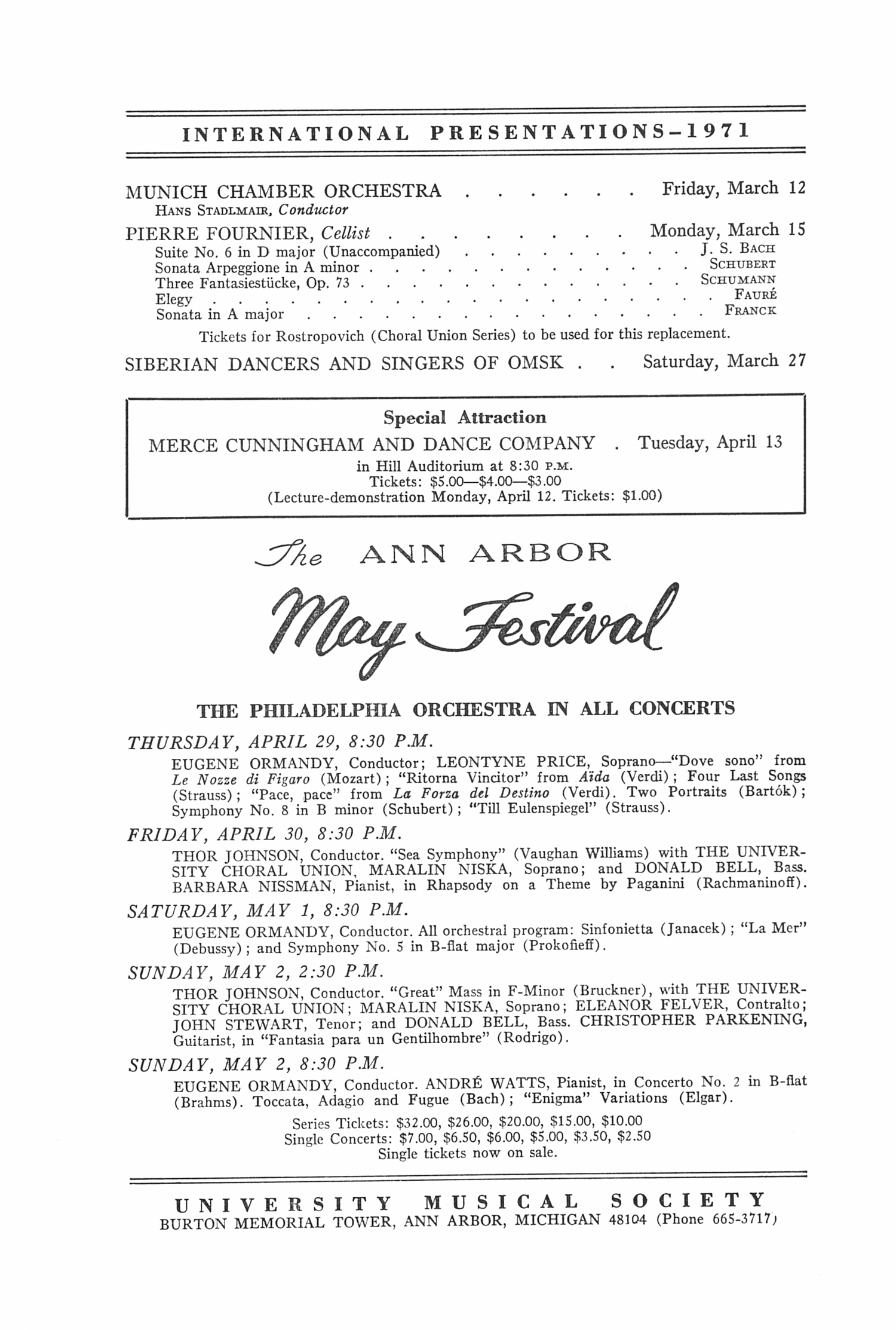 UMS Concert Program, March 10, 1971: Menuhin Festival Orchestra Of London --  image