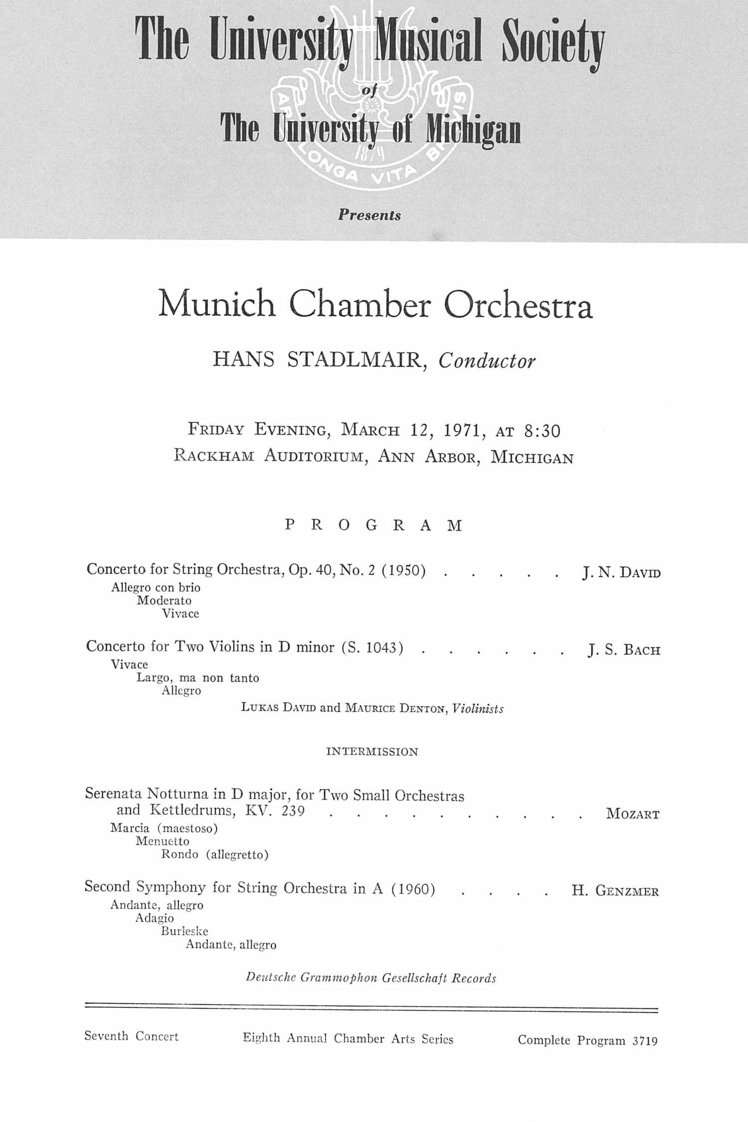 UMS Concert Program, March 12, 1971: Munich Chamber Orchestra --  image
