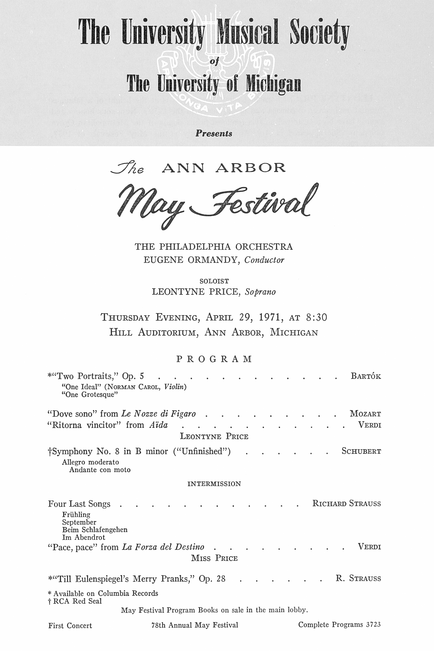 UMS Concert Program, April 29, 1971: The Ann Arbor May Festival -- The Philadelphia Orchestra image