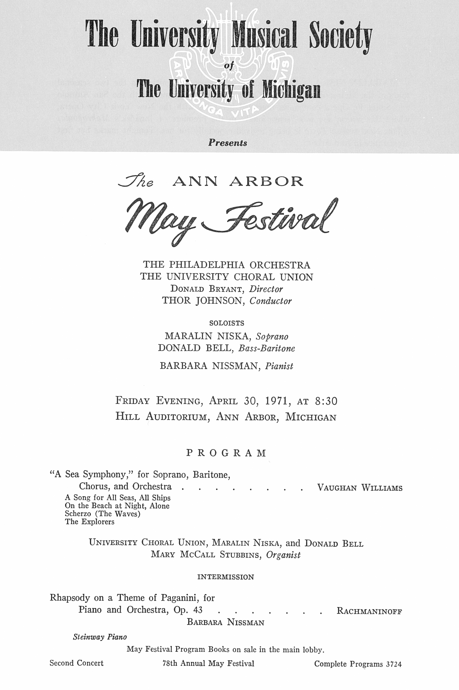 UMS Concert Program, April 30, 1971: The Ann Arbor May Festival -- The Philadelphia Orchestra image