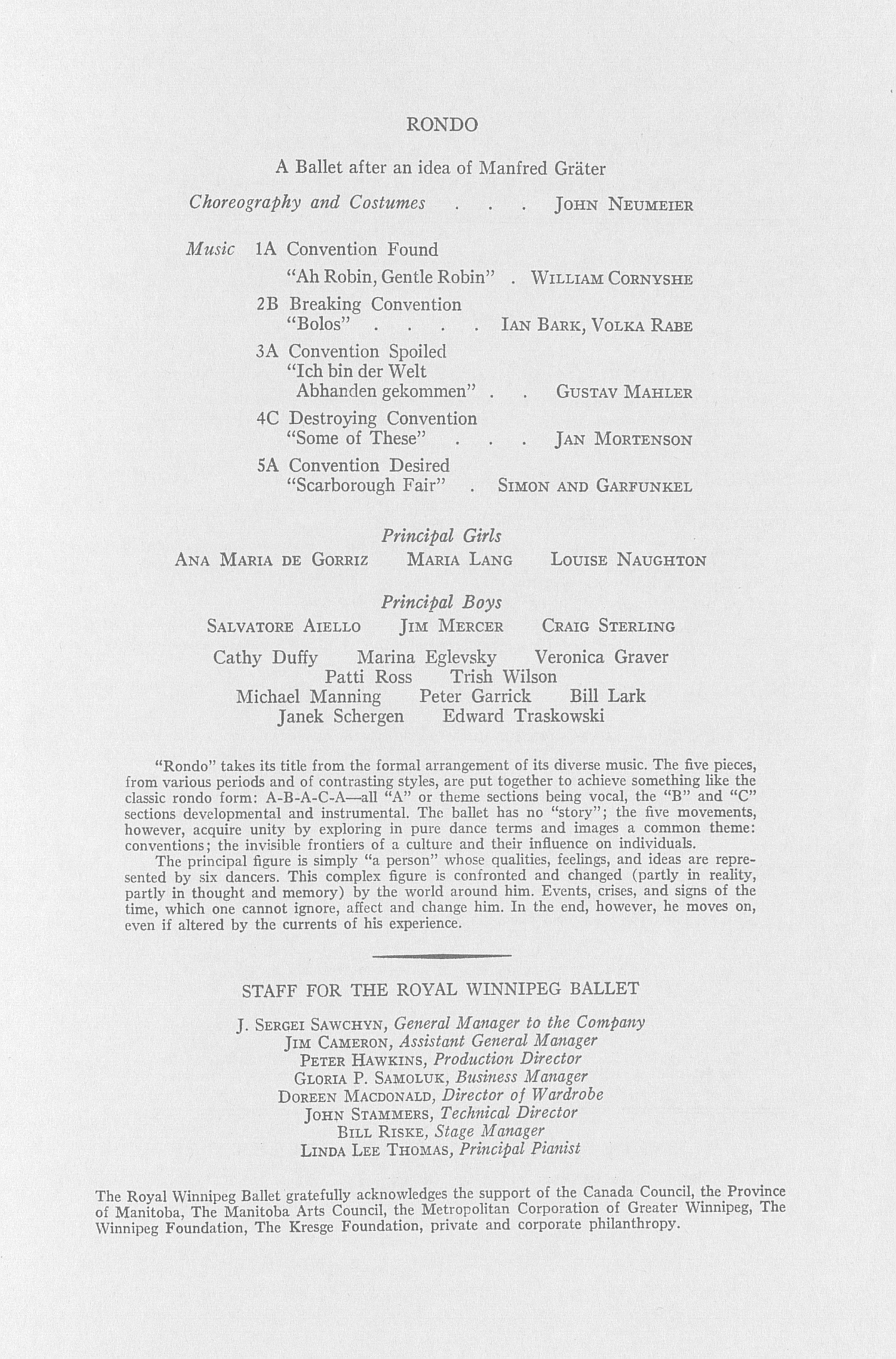 UMS Concert Program, November 10, 1971: The Royal Winnipeg Ballet -- Arnold Spohr image