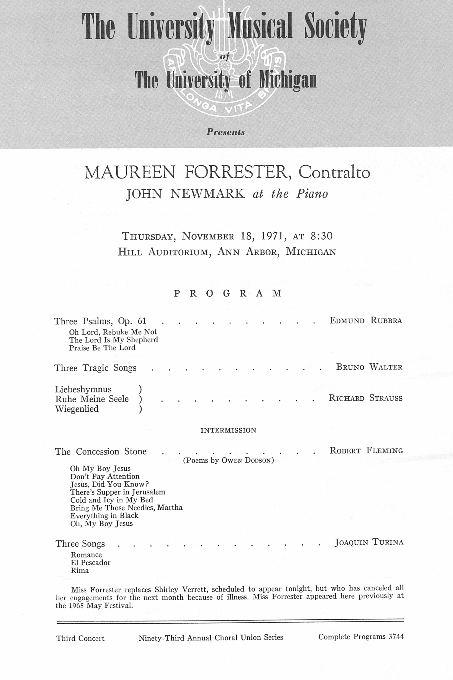 UMS Concert Program, November 18, 1971: Maureen Forrester --  image