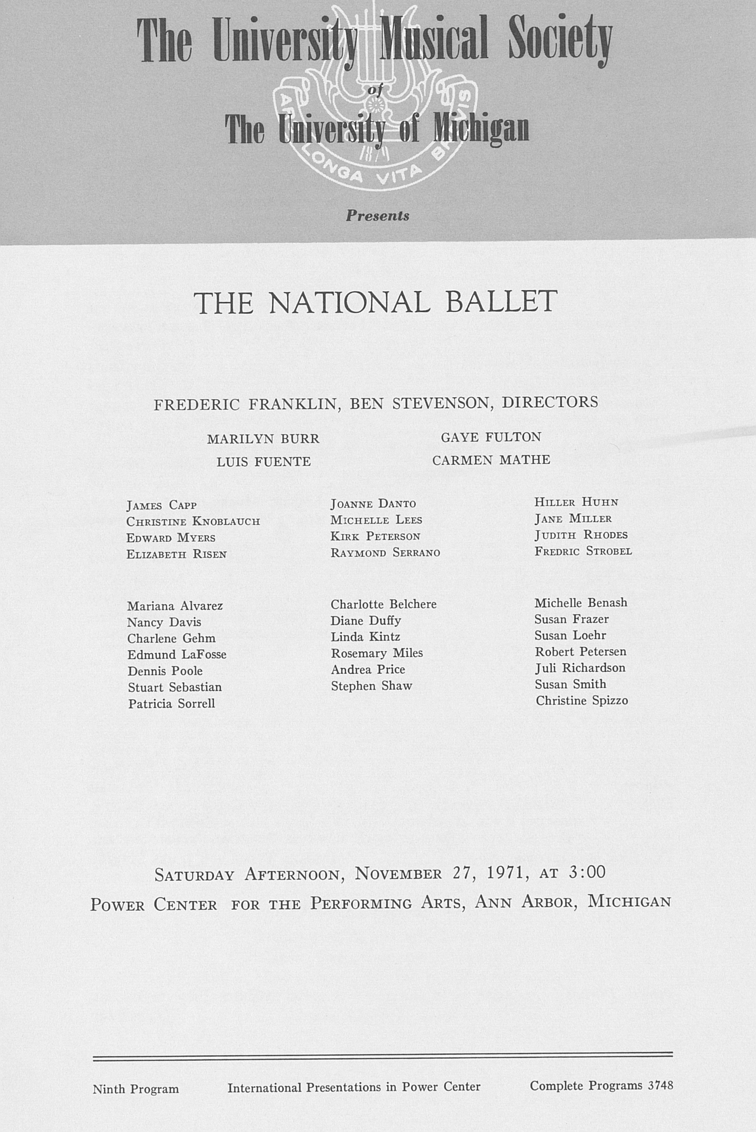UMS Concert Program, November 27, 1971: The National Ballet --  image