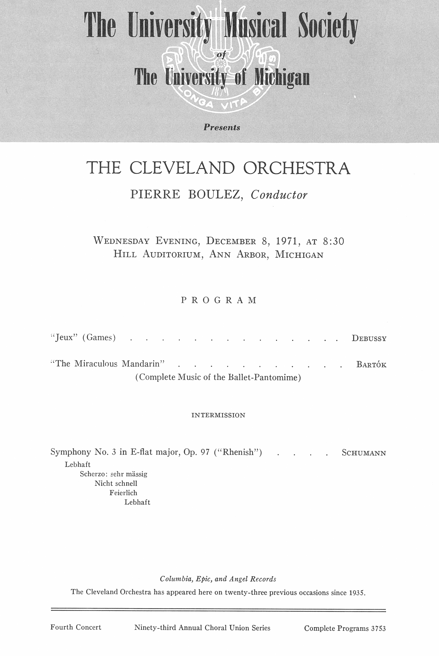 UMS Concert Program, December 8, 1971: The Cleveland Orchestra -- Pierre Boulez image