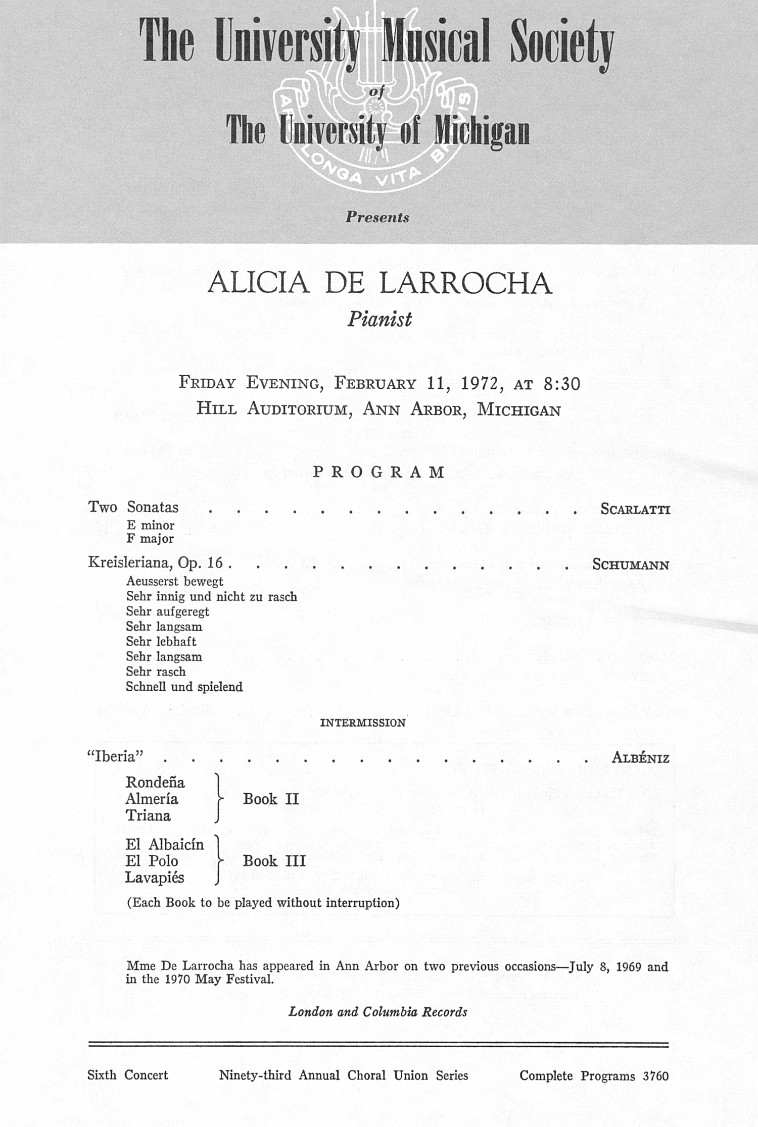 UMS Concert Program, February 11, 1972: Alicia De Larrocha --  image
