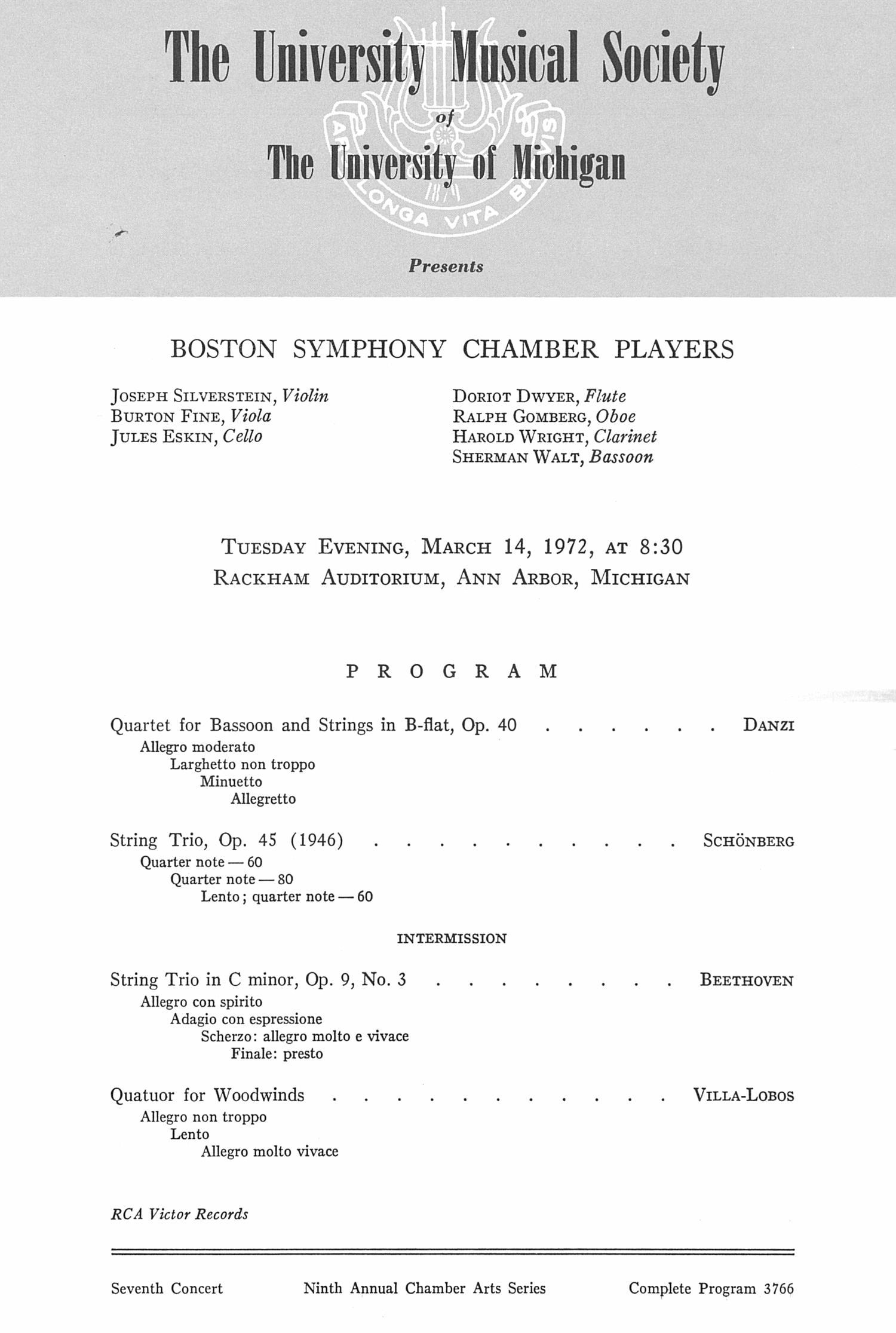UMS Concert Program, March 14, 1972: Boston Symphony Chamber Players --  image