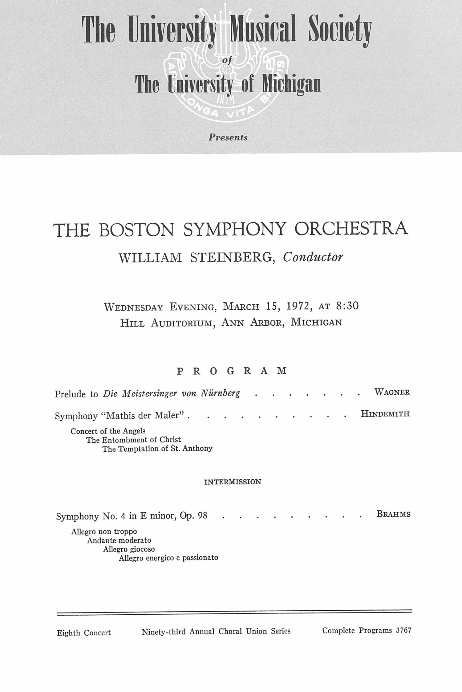 UMS Concert Program, March 15, 1972: The Boston Symphony Orchestra --  image