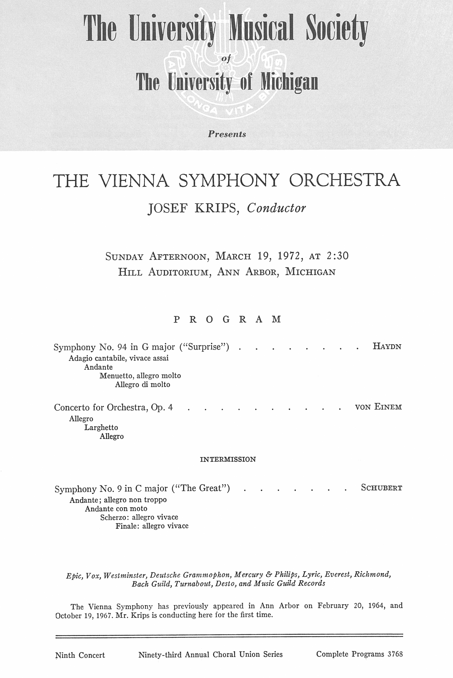 UMS Concert Program, March 19, 1972: The Vienna Symphony Orchestra --  image