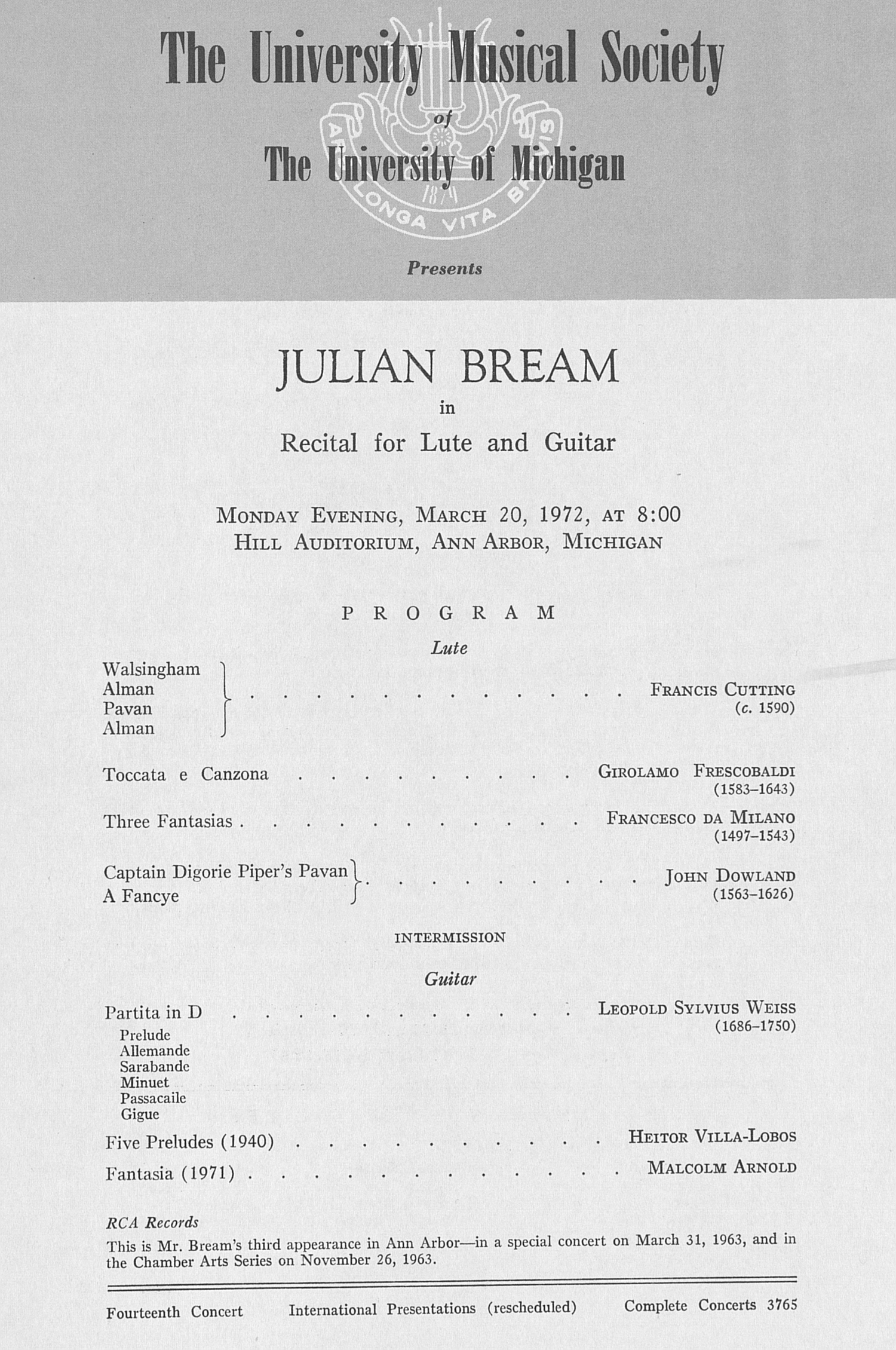 UMS Concert Program, March 20, 1972: Julian Bream --  image