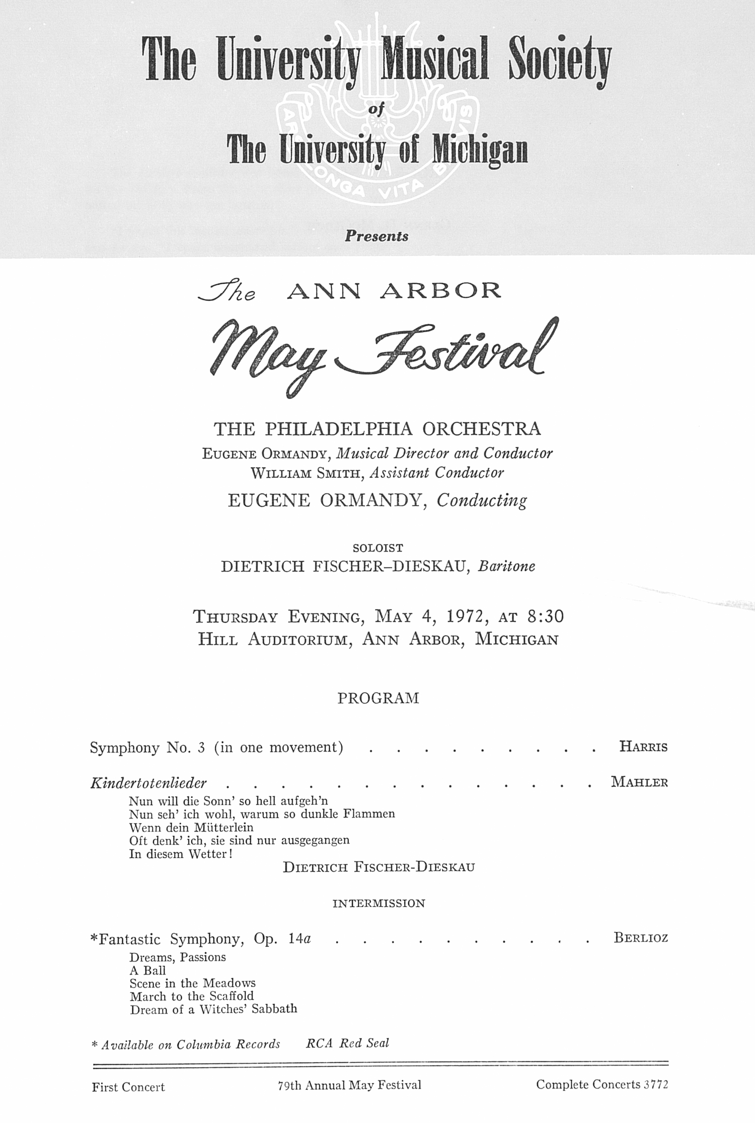 UMS Concert Program, May 4, 1972: The Ann Arbor May Festival -- The Philadelphia Orchestra image